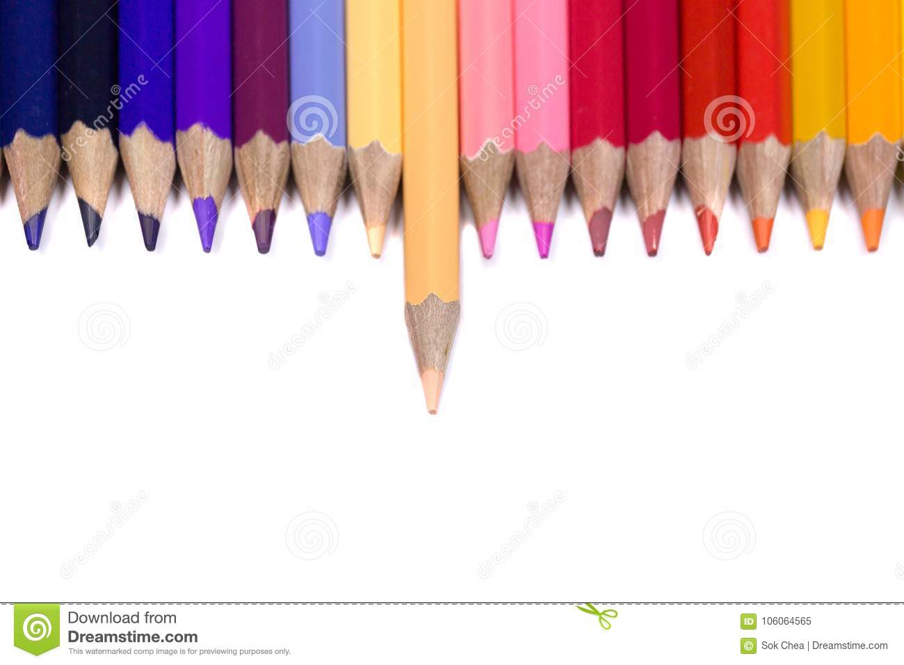 Odd One Out Color Pencil Facing Down on Pure White Background