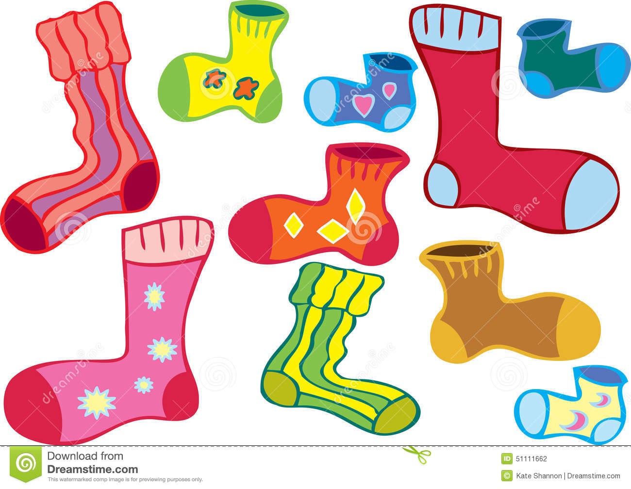 cartoon of several different colored odd socks.