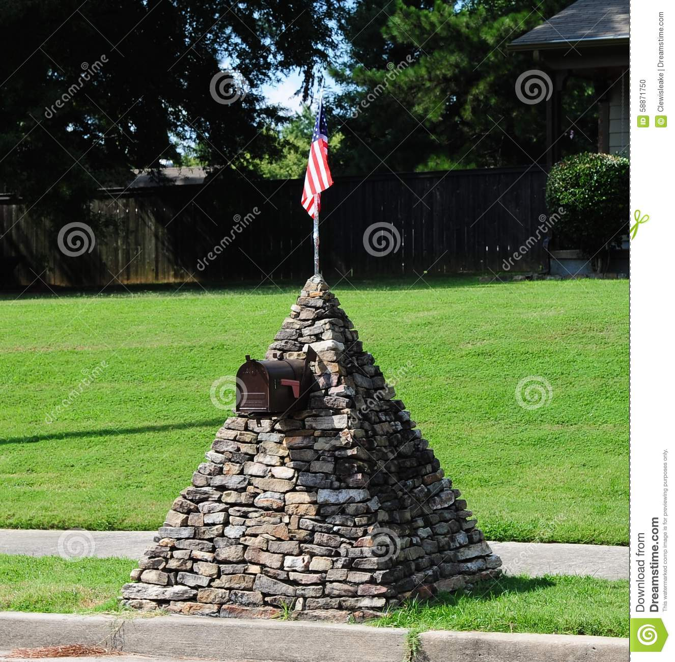 stone mailbox designs. Mailbox Topped With U.S Flag Stone Designs