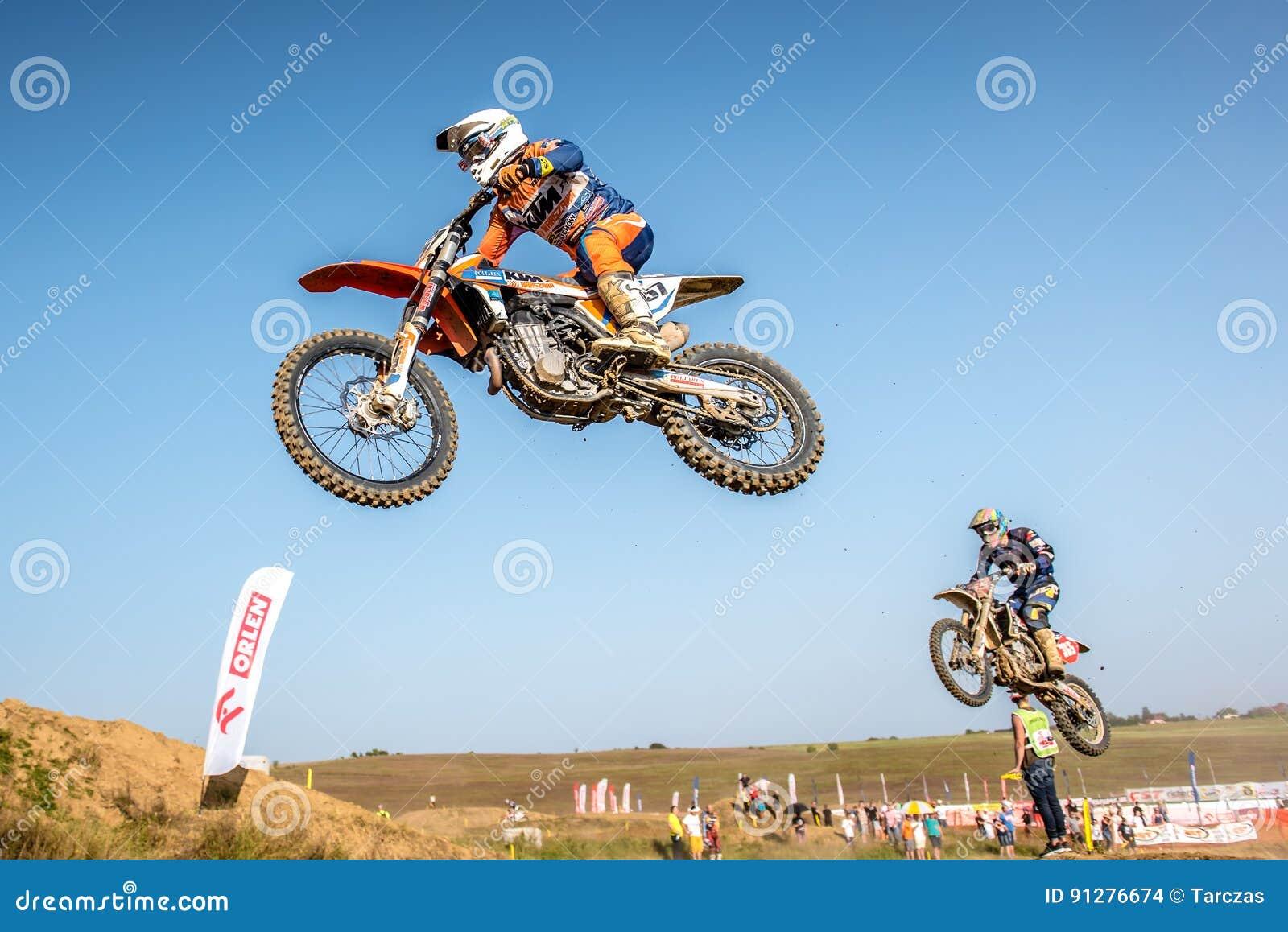 Odefinierad ryttare på den polska motocrossmästerskapet Polen, Gdansk 11 Septemeber 2016
