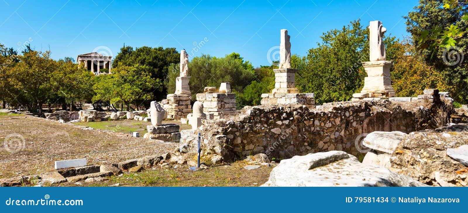 Odeon de las estatuas de Agrippa en el ágora antiguo, Atenas, Grecia