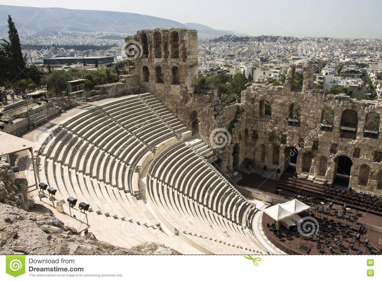 Odeon Of Herodes Atticus Acropolis Greece Stock Image Image Of Antique Architecture 74147427