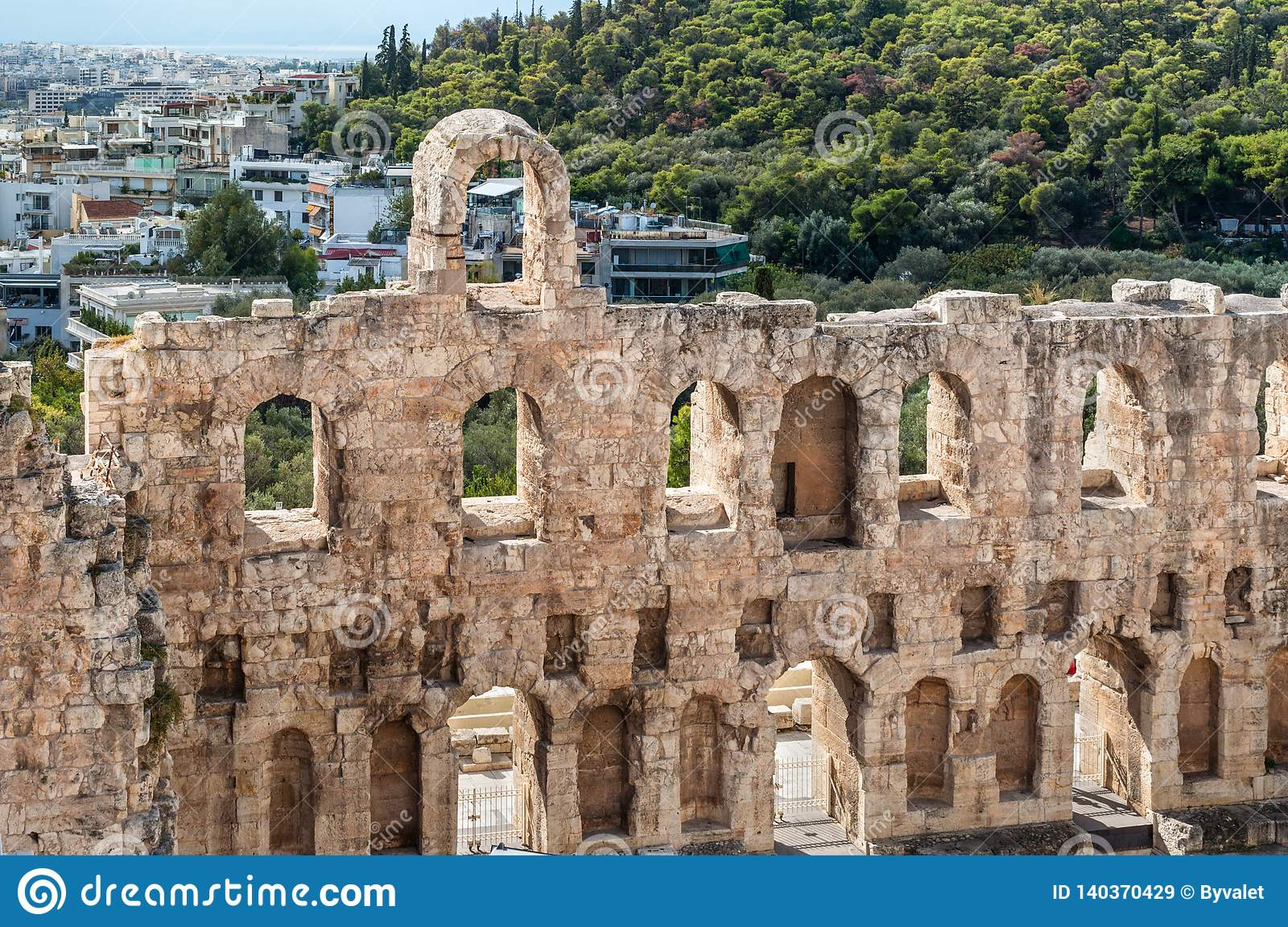 The Odeon Of Herodes Atticus On The South Slope Of The Acropolis In Athens Greece Editorial Stock Image Image Of Athens Odeon 140370429