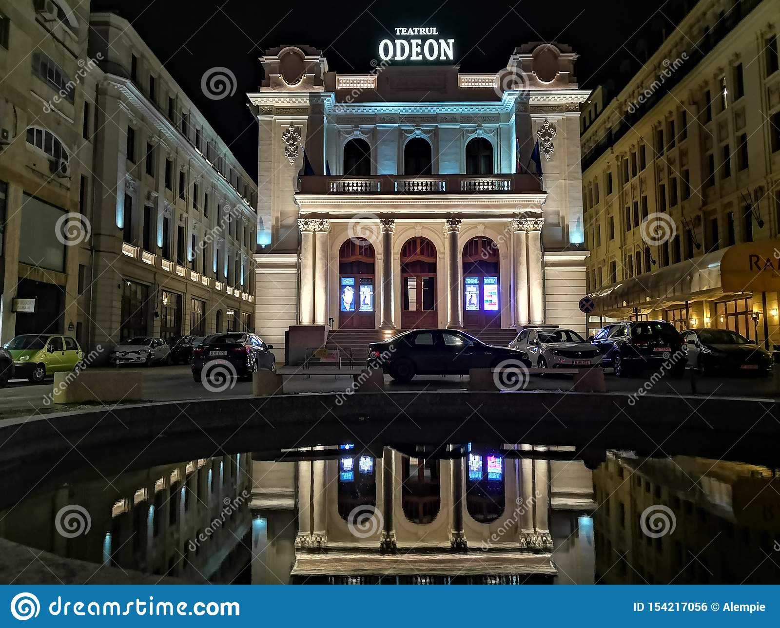 Odeon-Theater in Bukarest, nachts