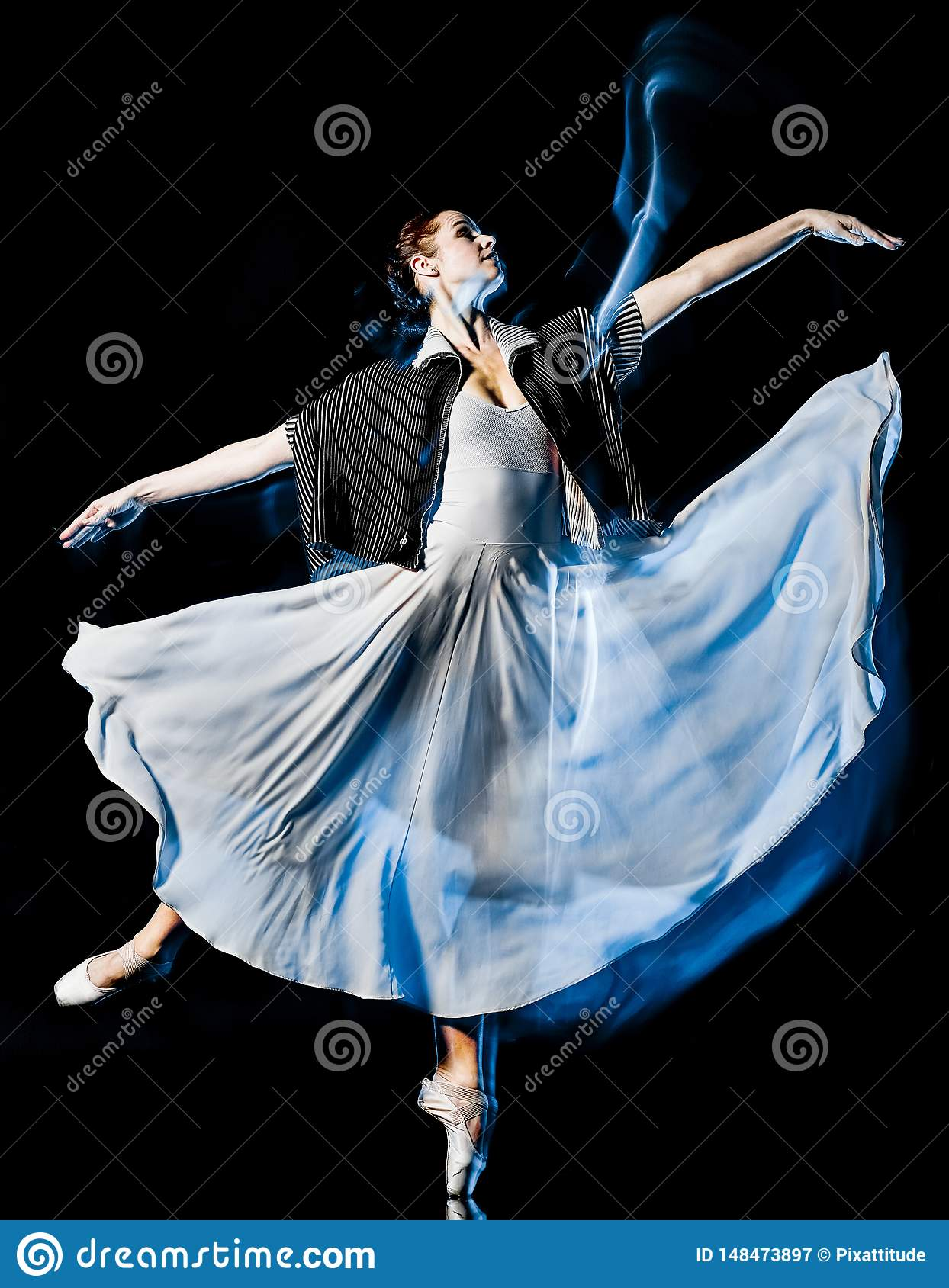 Odern ballet dancer dancing woman isolated black bacground