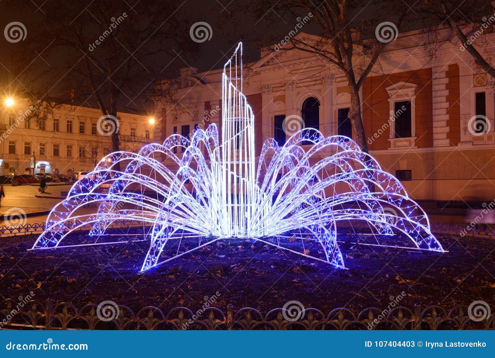 Odesa, de Oekraïne - Januari, 7, 2018: Kerstmis en Nieuwjaardecor
