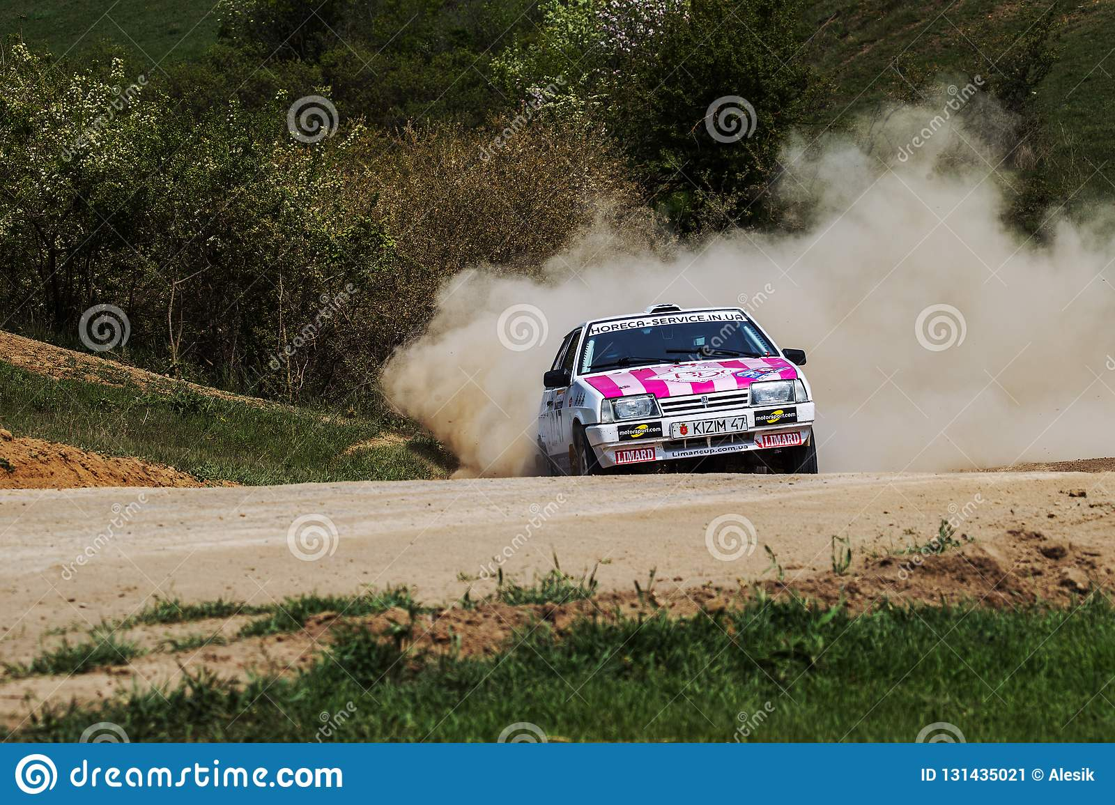 ODESSA, UKRAINE - April 30, 2017: Traditional rally Autocross Championship. Racing car is dangerous enters steep turn of race