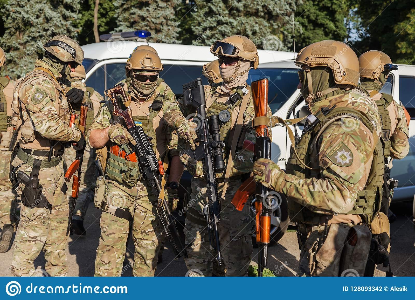 ODESSA, UKRAINE - August 1, 2018: Special forces of the Ukrainian police in the ranks in full combat form with special weapons. Ur