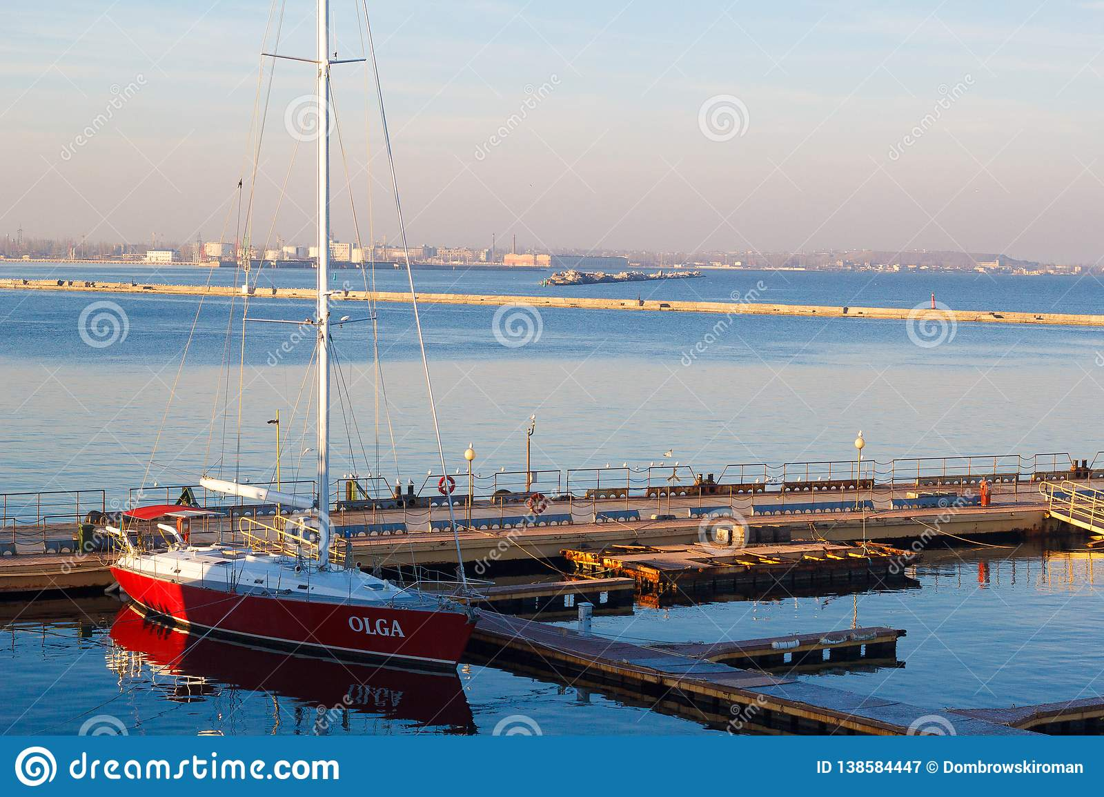 ODESSA, UKRAINE - January 02, 2017 A red yacht at the yacht club in the port of Odessa