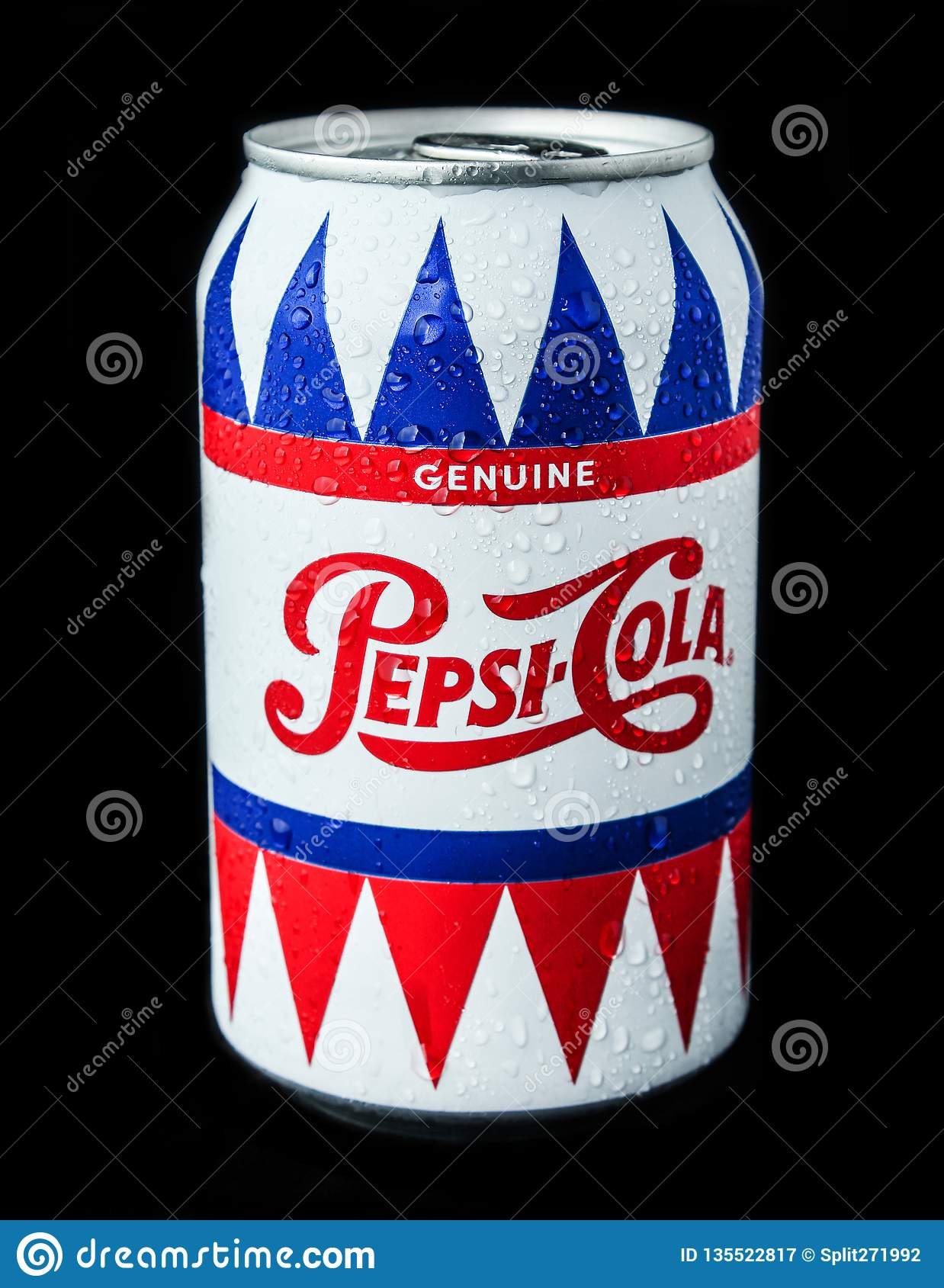 Odessa, Ukraine-July 30, 2018: Tin Can Pepsi-Cola Genuine On