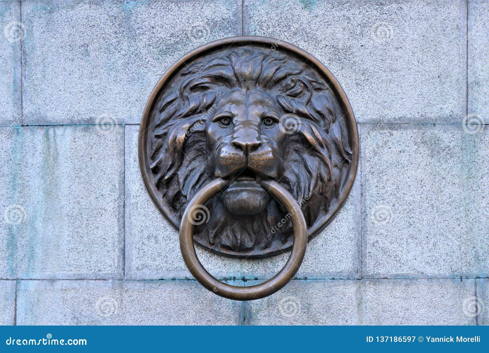 Odessa ukraine Knackare för lejonhuvuddörr som lokaliseras i centret av Odessa, Ukraina