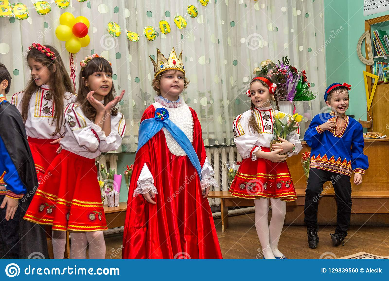 Odessa, Ukraine - March 4, 2016: children`s music groups singing
