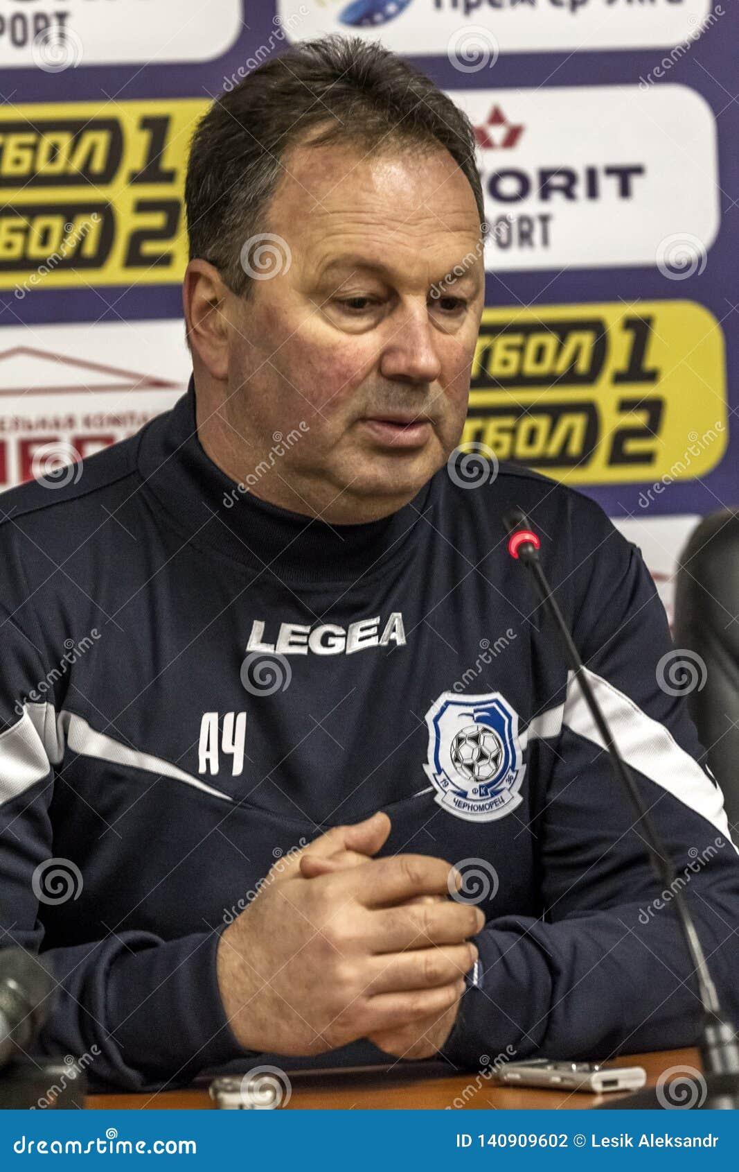 ODESSA, UKRAINE -2 March 2019: Legendary famous football coach FC Chernomorets Odessa Angel CHERVENKOV during match Chernomorets