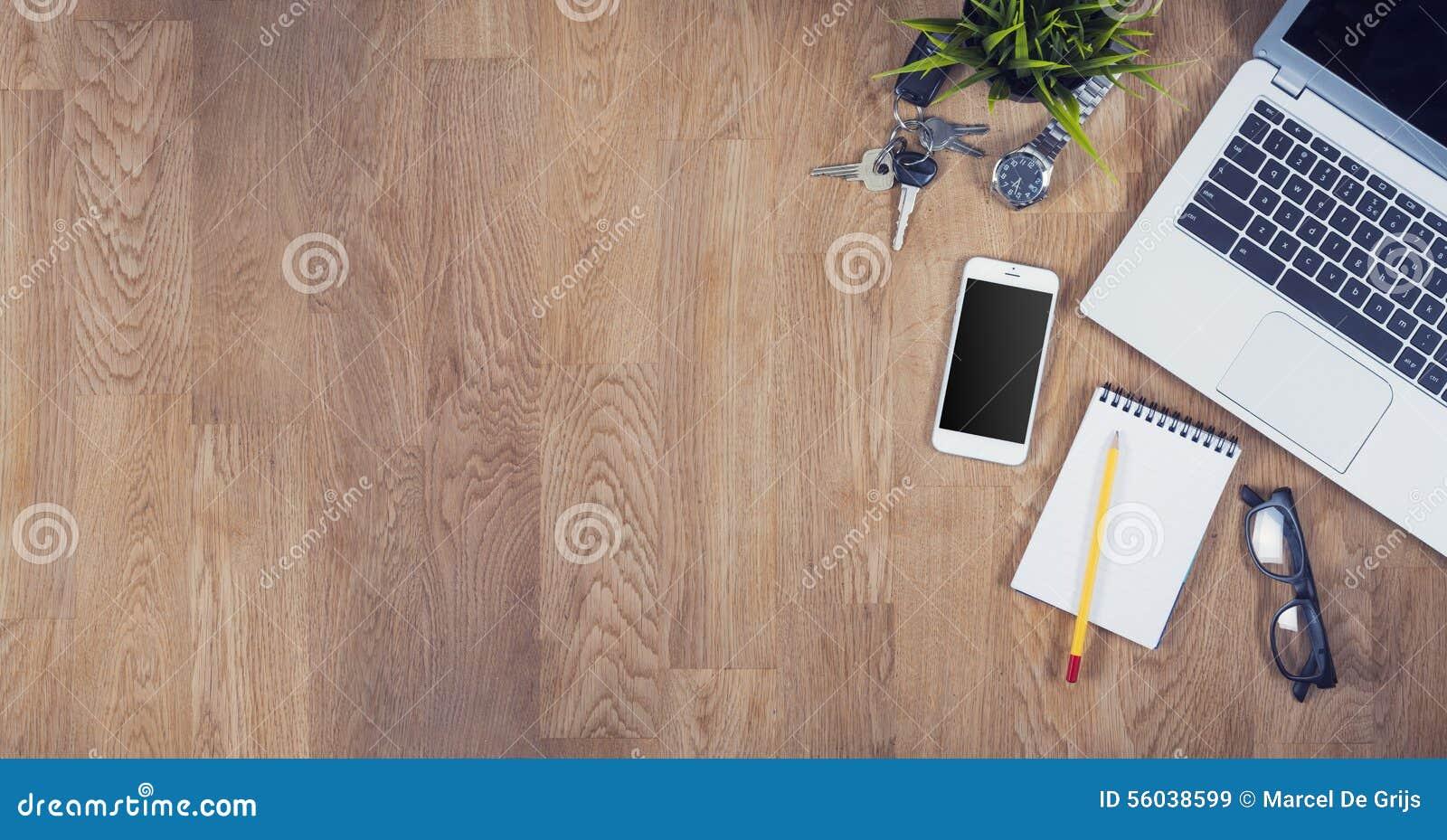 Odgórnego widoku biurowy biurko