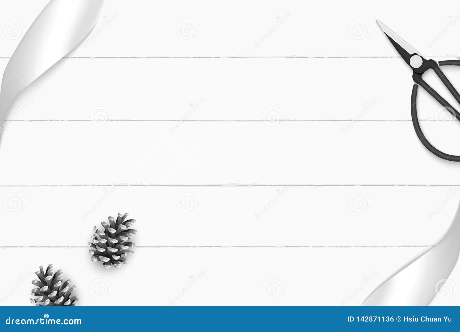 Odgórnego widoku składu eleganckiego białego srebra sosny rocznika i rożka metalu tasiemkowi nożyce na drewnianym podłogowym tle