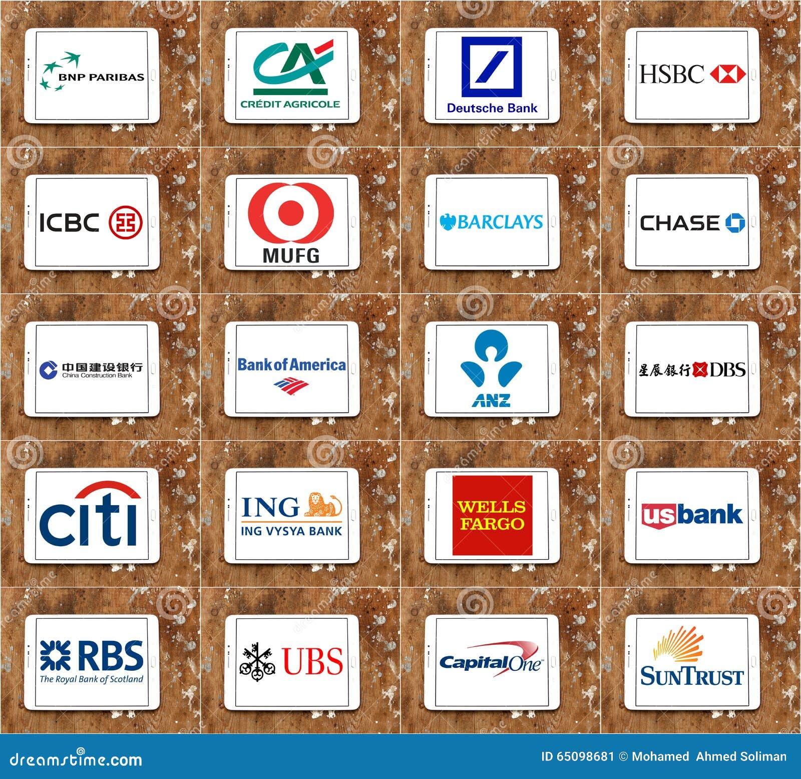 Odgórni globalni banków gatunki, logowie i