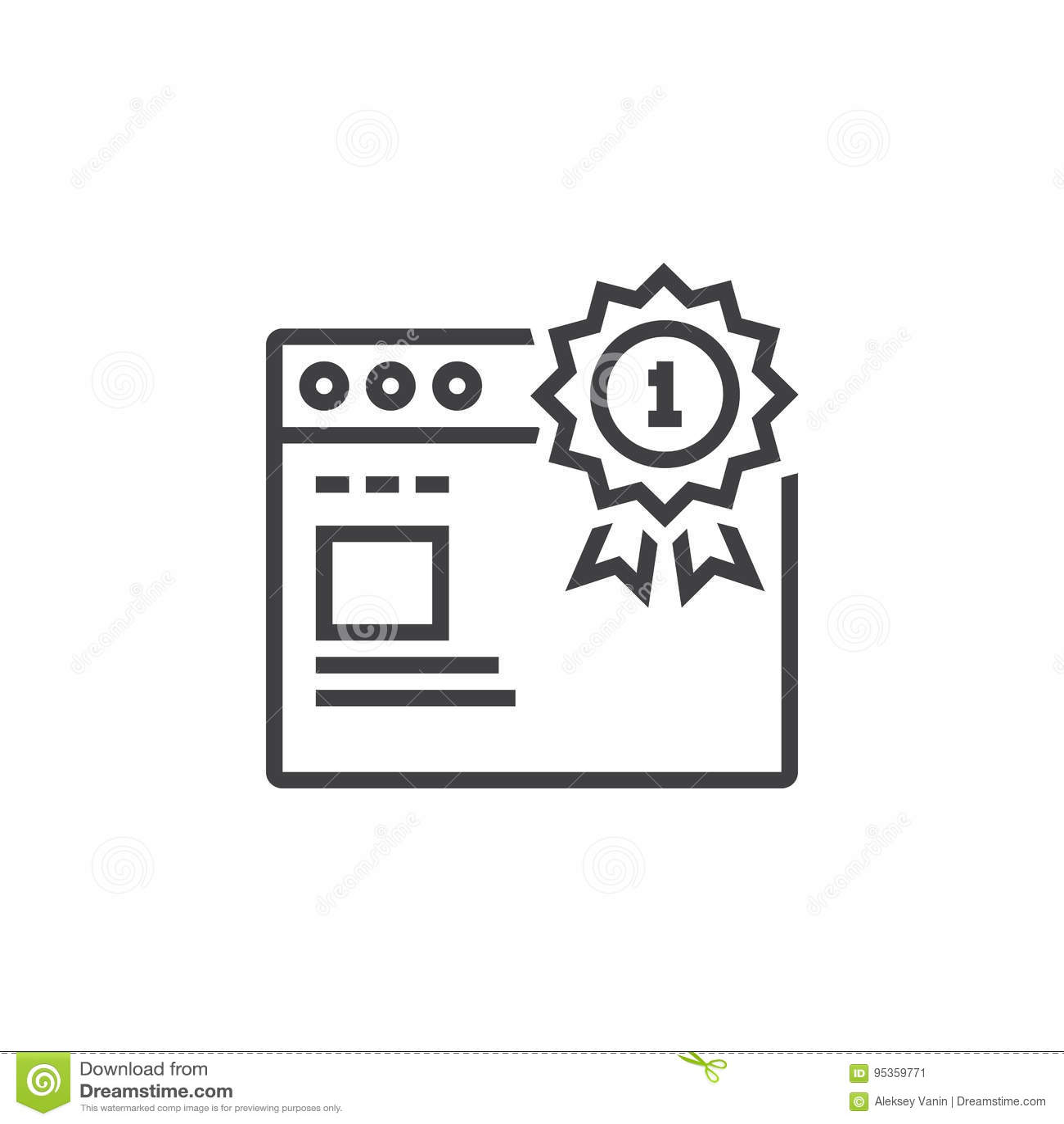 Odgórny ranking strony internetowej symbol najpierw miejsce medal i przeglądarki internetowej li