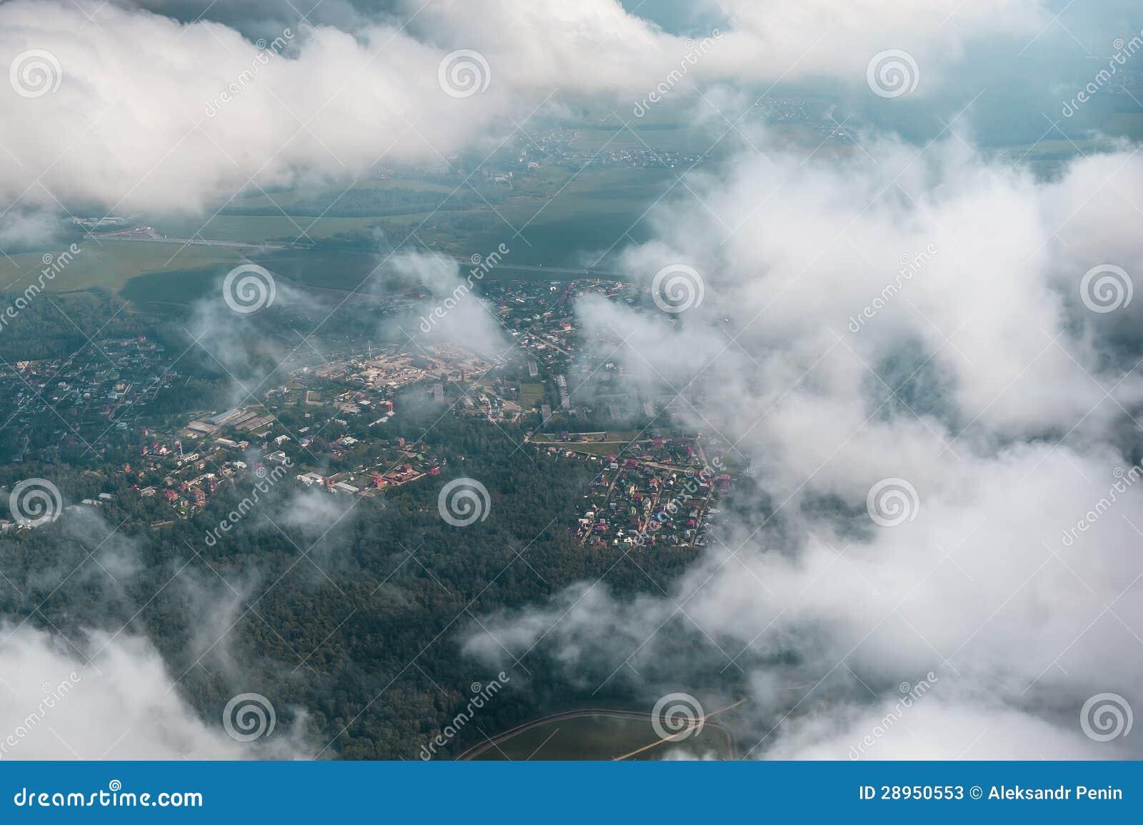 Odgórny widok białe puszyste chmury