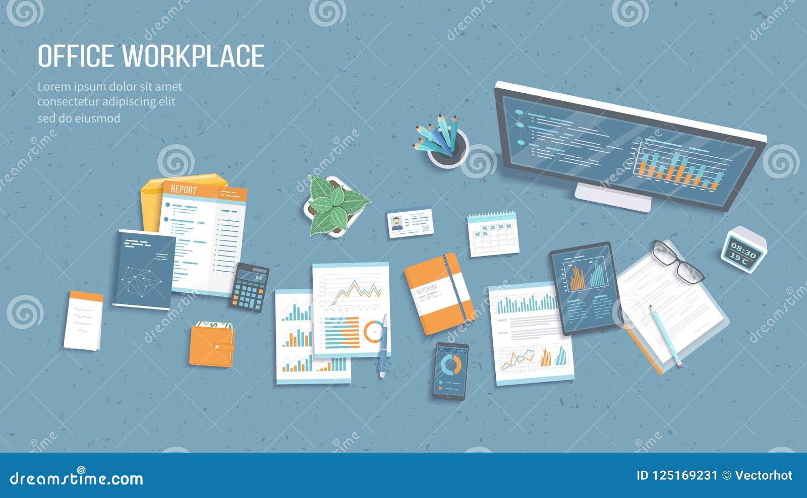 Odgórny widok biurowy miejsce pracy z biznesowymi biurowymi dostawami, monitor, pastylka, dokumenty Mapy, grafika na monitoru ekr