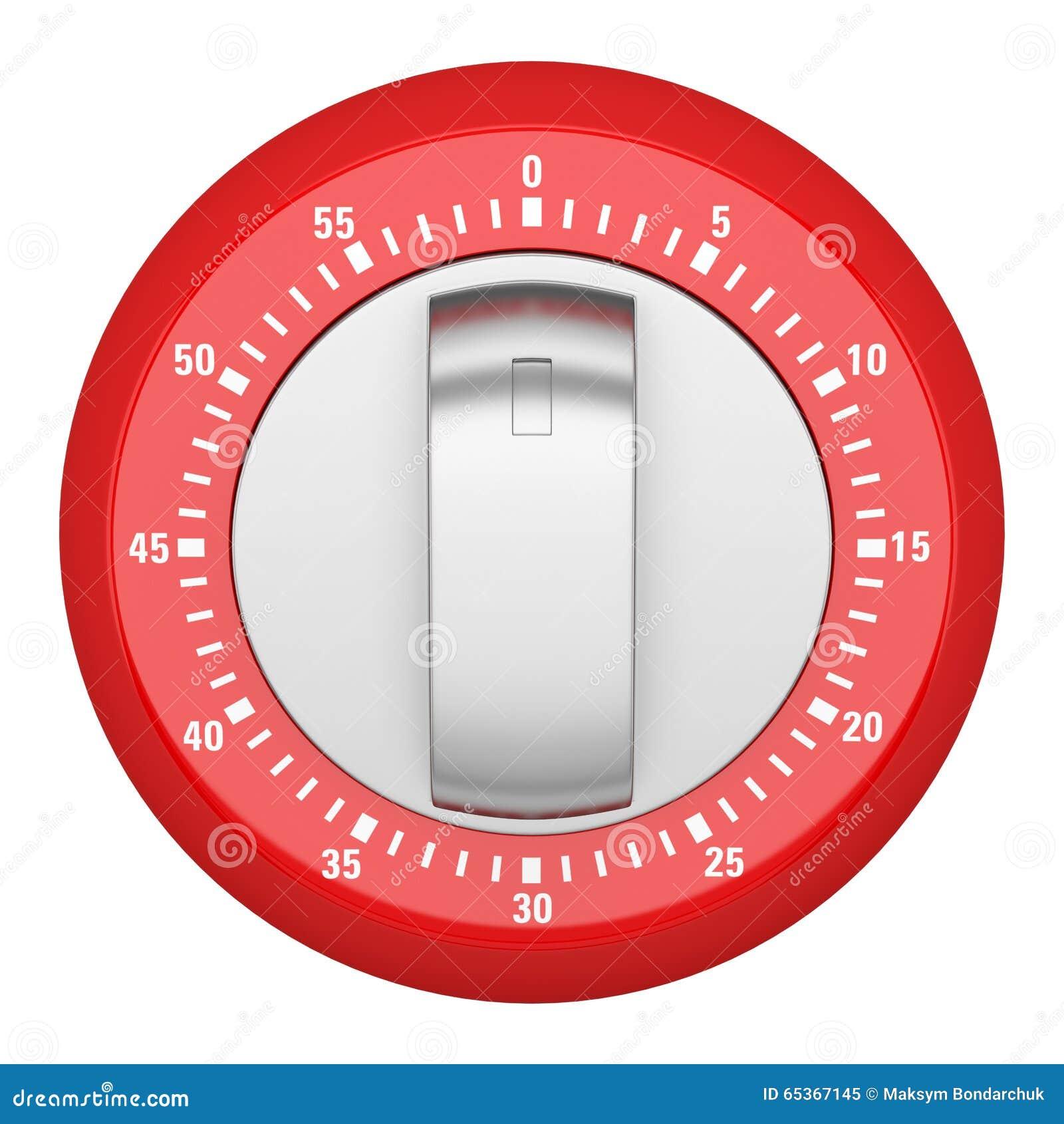 Odgórny widok czerwony nowożytny kuchenny zegar odizolowywający na bielu