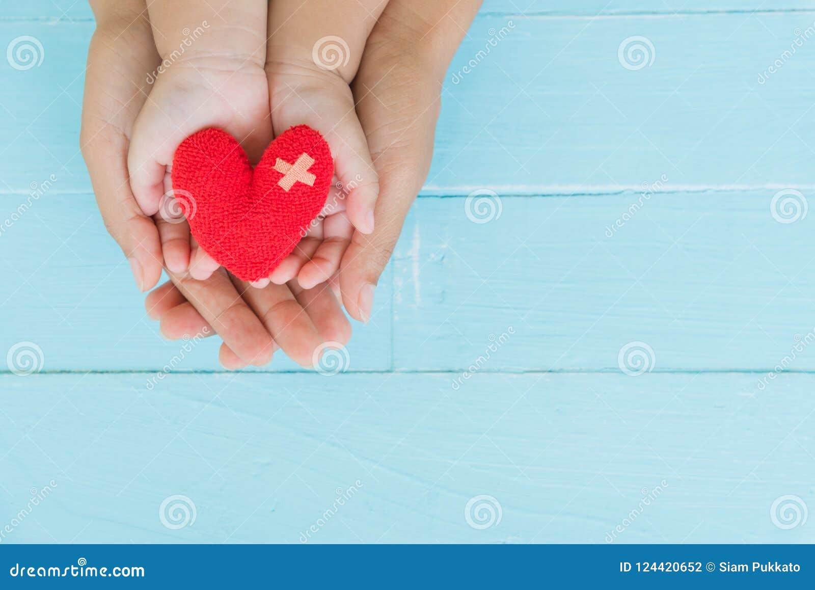 Odgórny widok dorosłego i dziecka mienia czerwony serce w rękach
