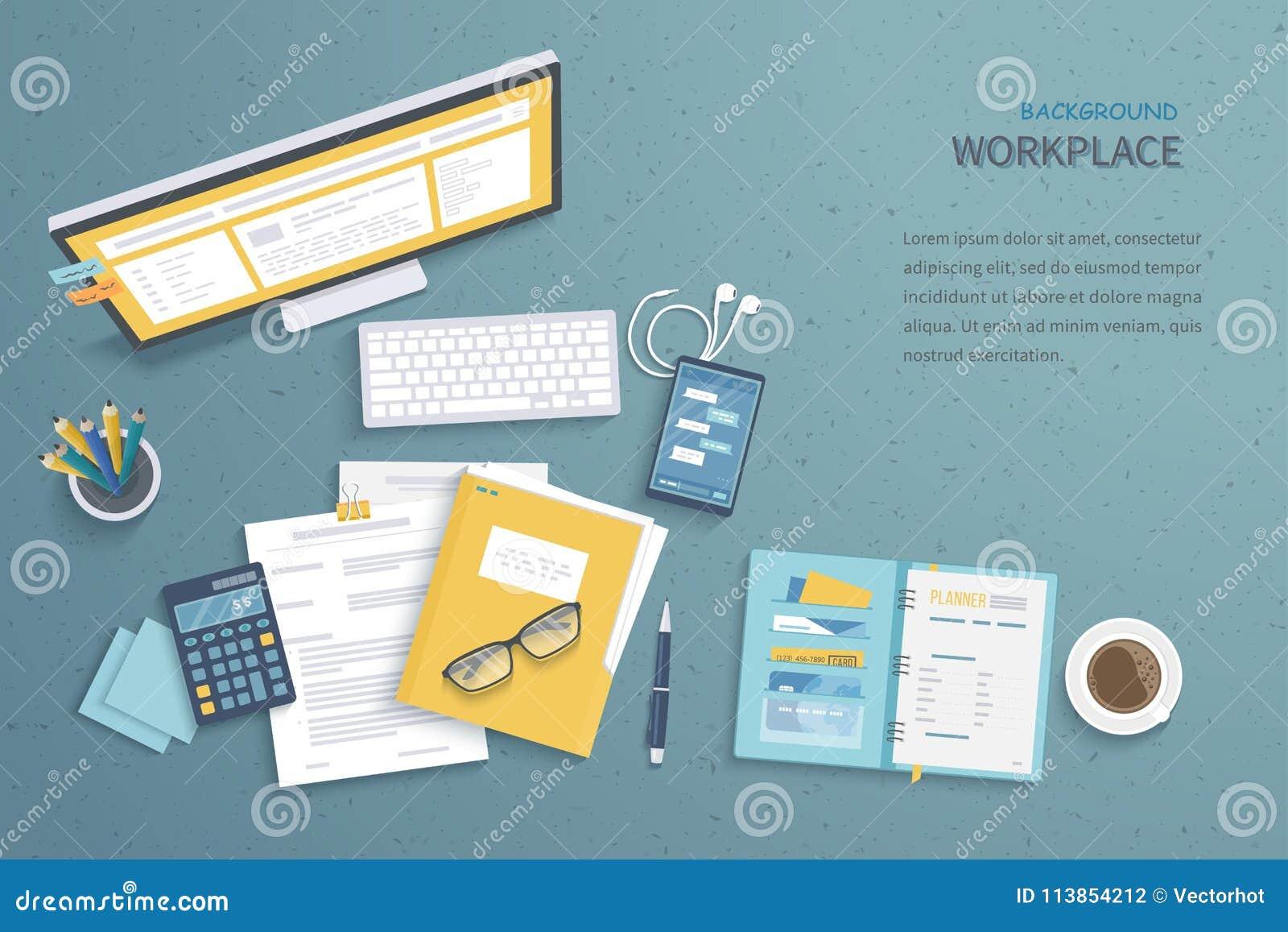Odgórny widok miejsca pracy tło, monitor, klawiatura, notatnik, hełmofony Workspace, analityka, optymalizacja, zarządzanie