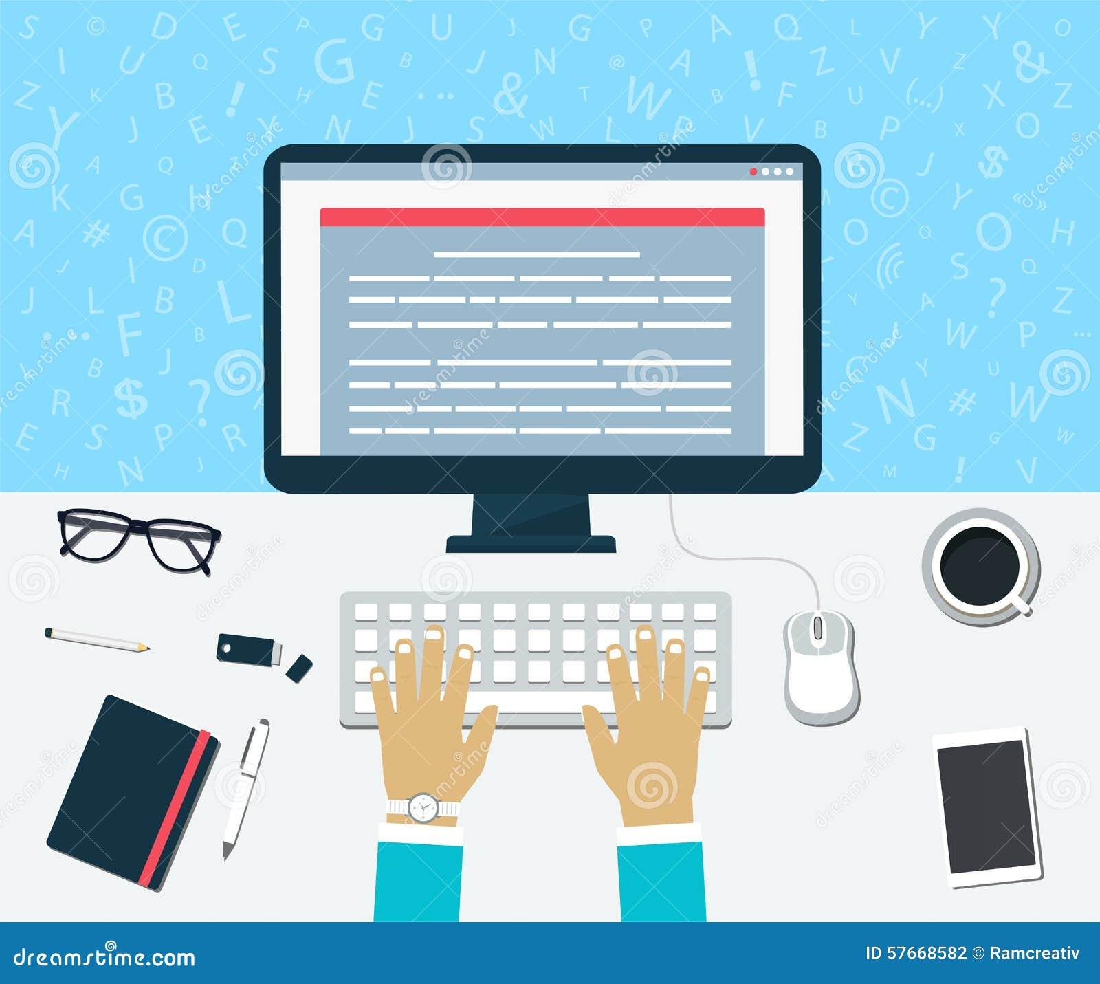 Odgórny widok miejsce pracy Wchodzić do zawartość na komputerze