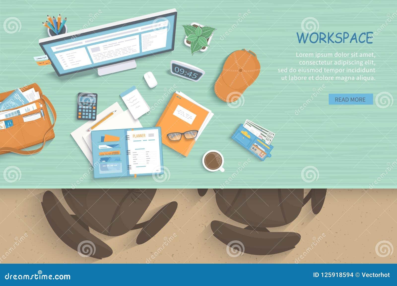 Odgórny widok nowożytny i elegancki miejsce pracy Stół, karła, monitor, notatnik, papier, kawa
