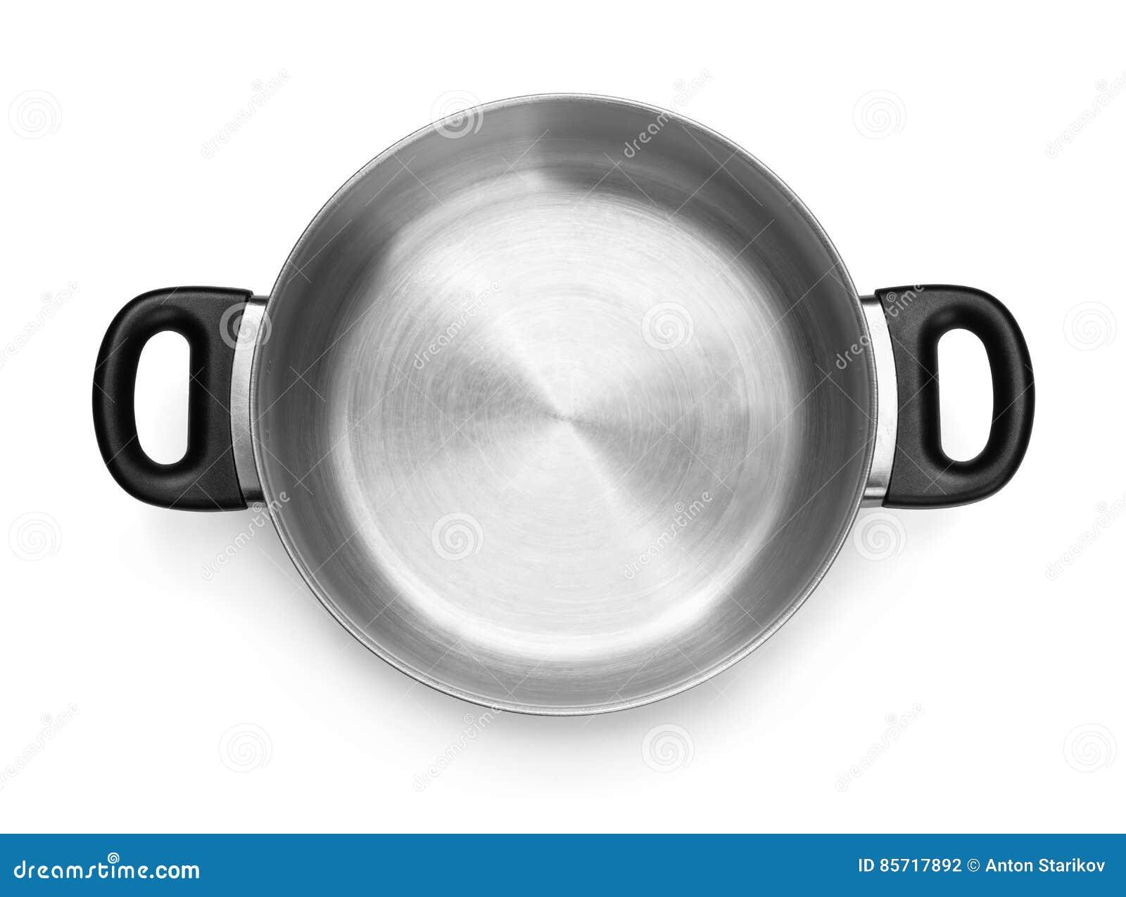 Odgórny widok pusty stalowy kucharstwo garnek