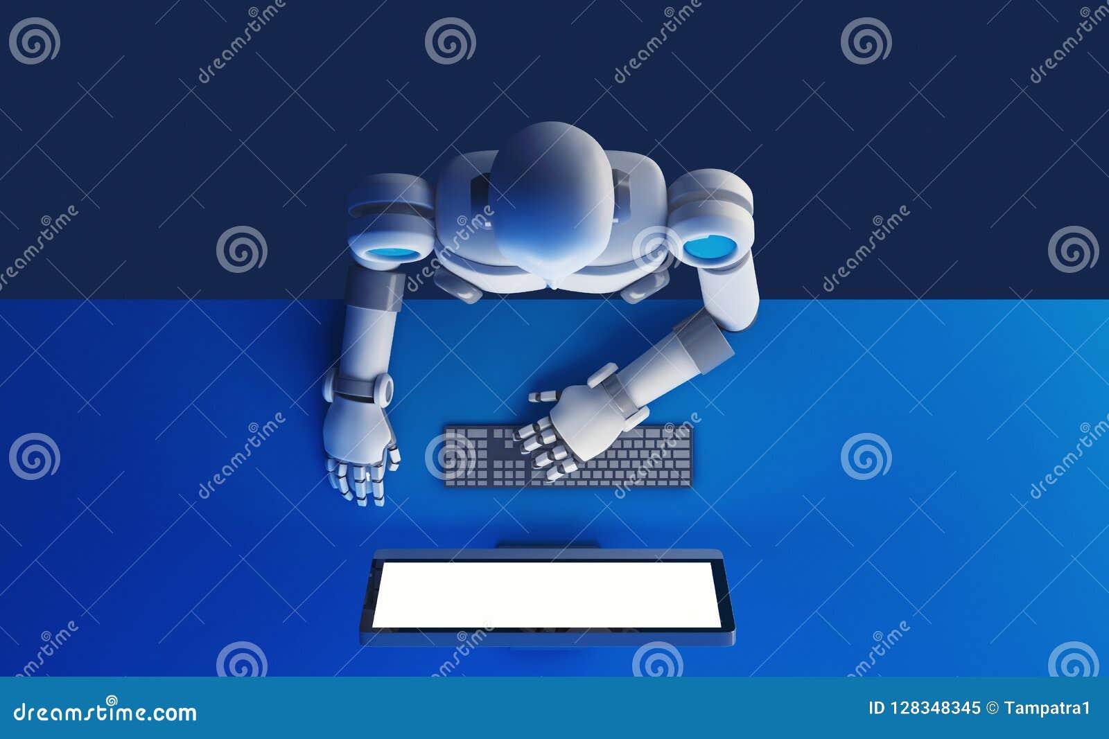 Odgórny widok robot używać komputerowego monitoru z pustego ekranu iso
