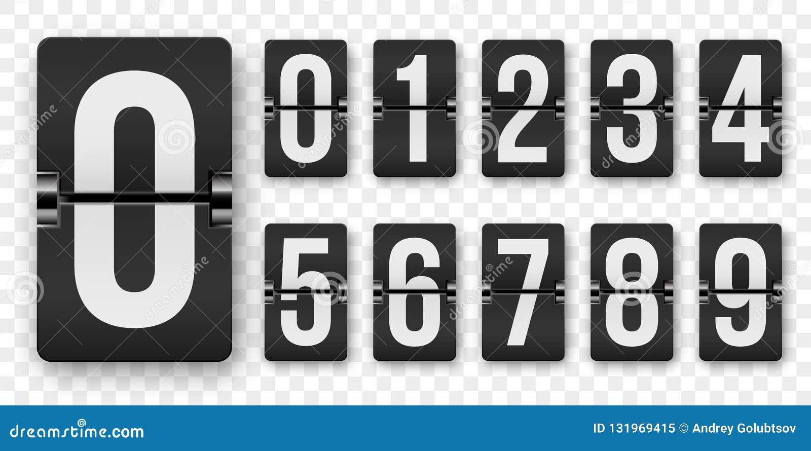 Odliczanie liczb trzepnięcia kontuaru wektor odizolowywający set Retro stylowy trzepnięcia tablica wyników lub zegaru liczb machi