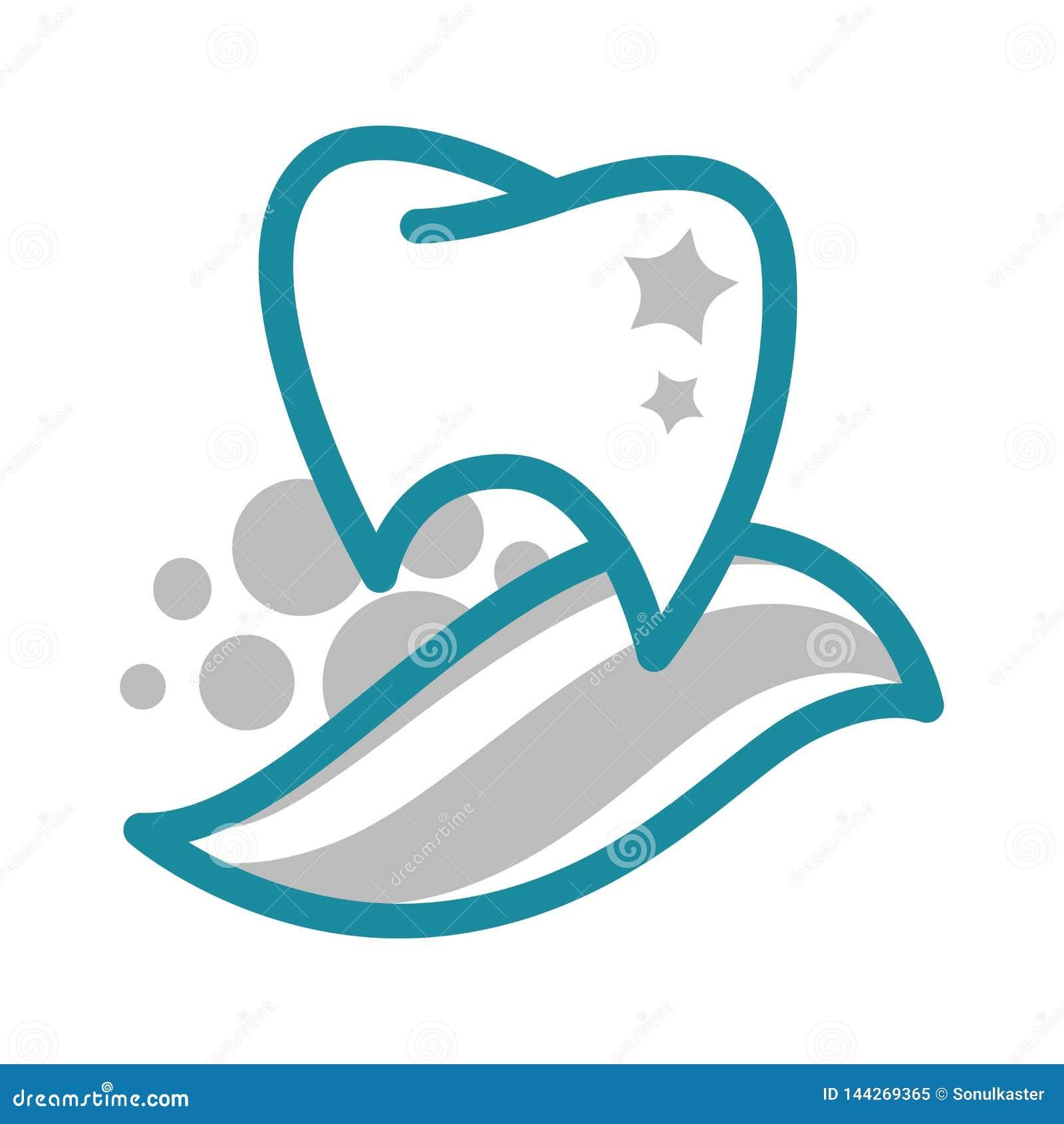 Odontología del diente y de la crema dental e icono aislado clínica dental