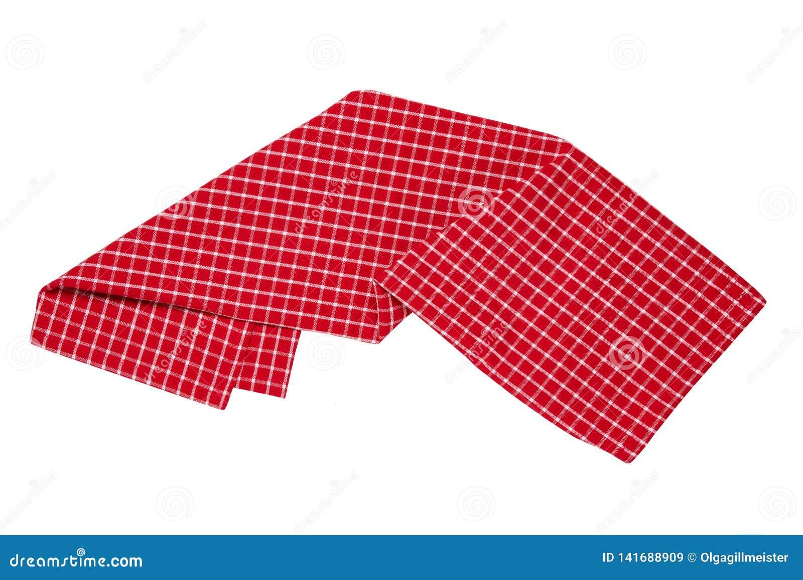 Odosobneni ręczniki W górę czerwonej, białej w kratkę tablecloth tekstury odizolowywającej na białym tle i Kuchnia