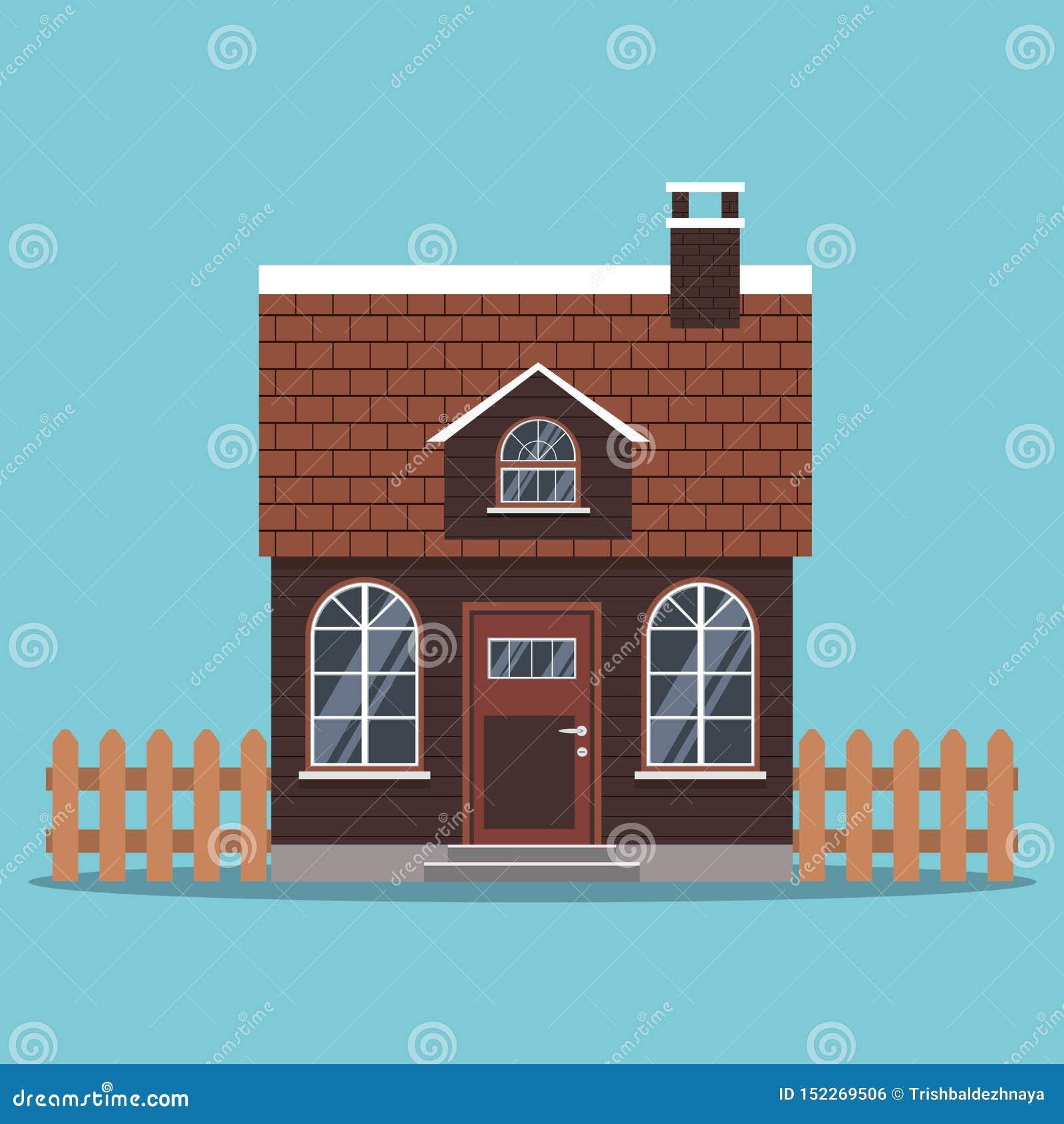 Odosobniona ikona dom na wsi z dachem kafelkowym kominem i, ogrodzenia w kreskówki mieszkaniu projektuje