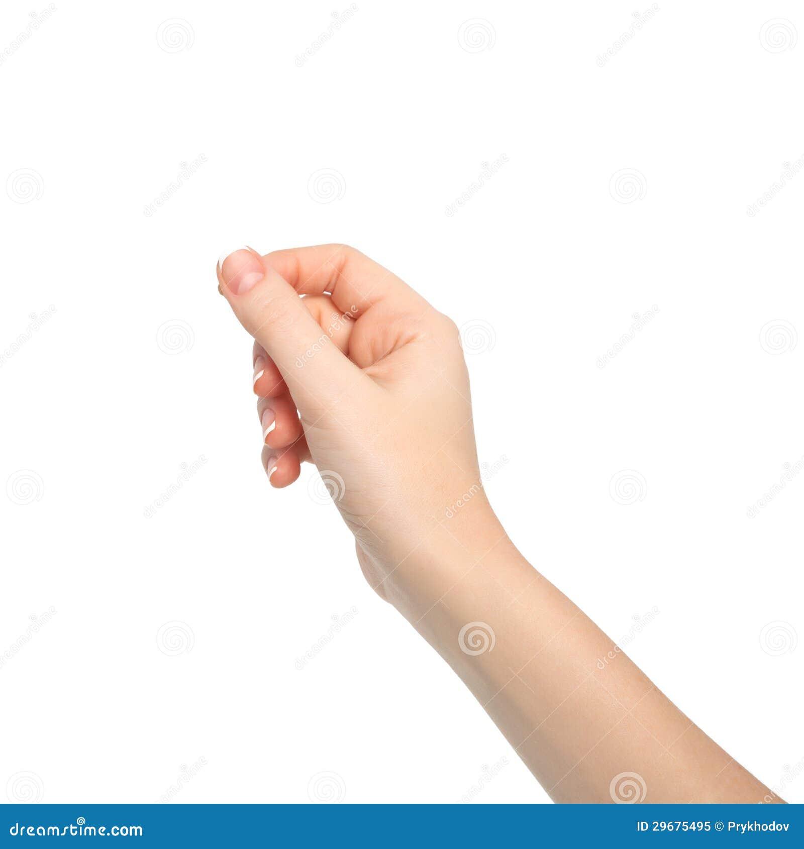 Odosobniona kobiety ręka trzyma przedmiota