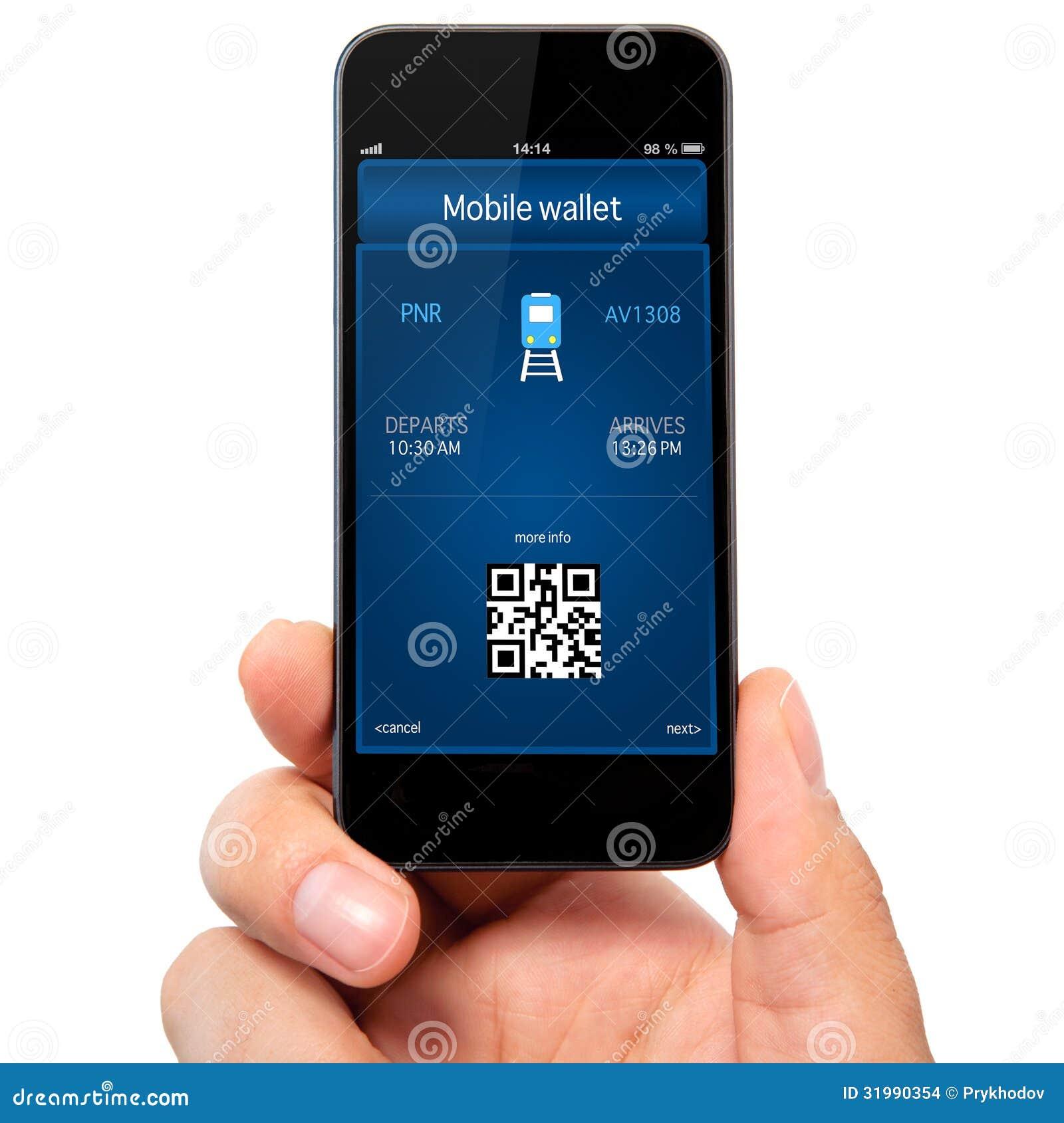 Odosobniona mężczyzna ręka trzyma telefon z mobilnym tra i portflem