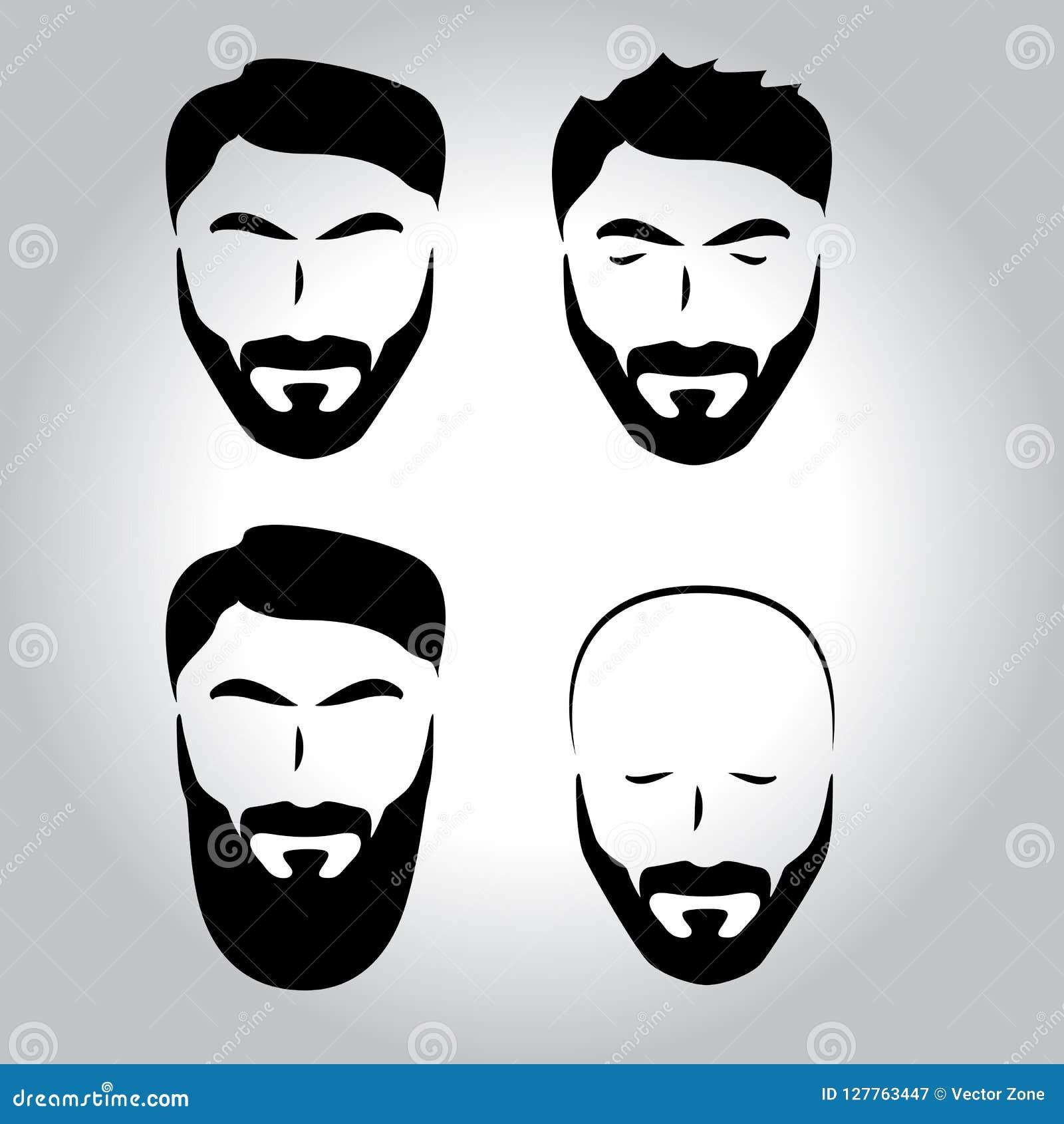 Odosobniona twarz z wąsy, broda, włosiany wektorowy loga set Mężczyzna fryzjera męskiego sklepu emblemat
