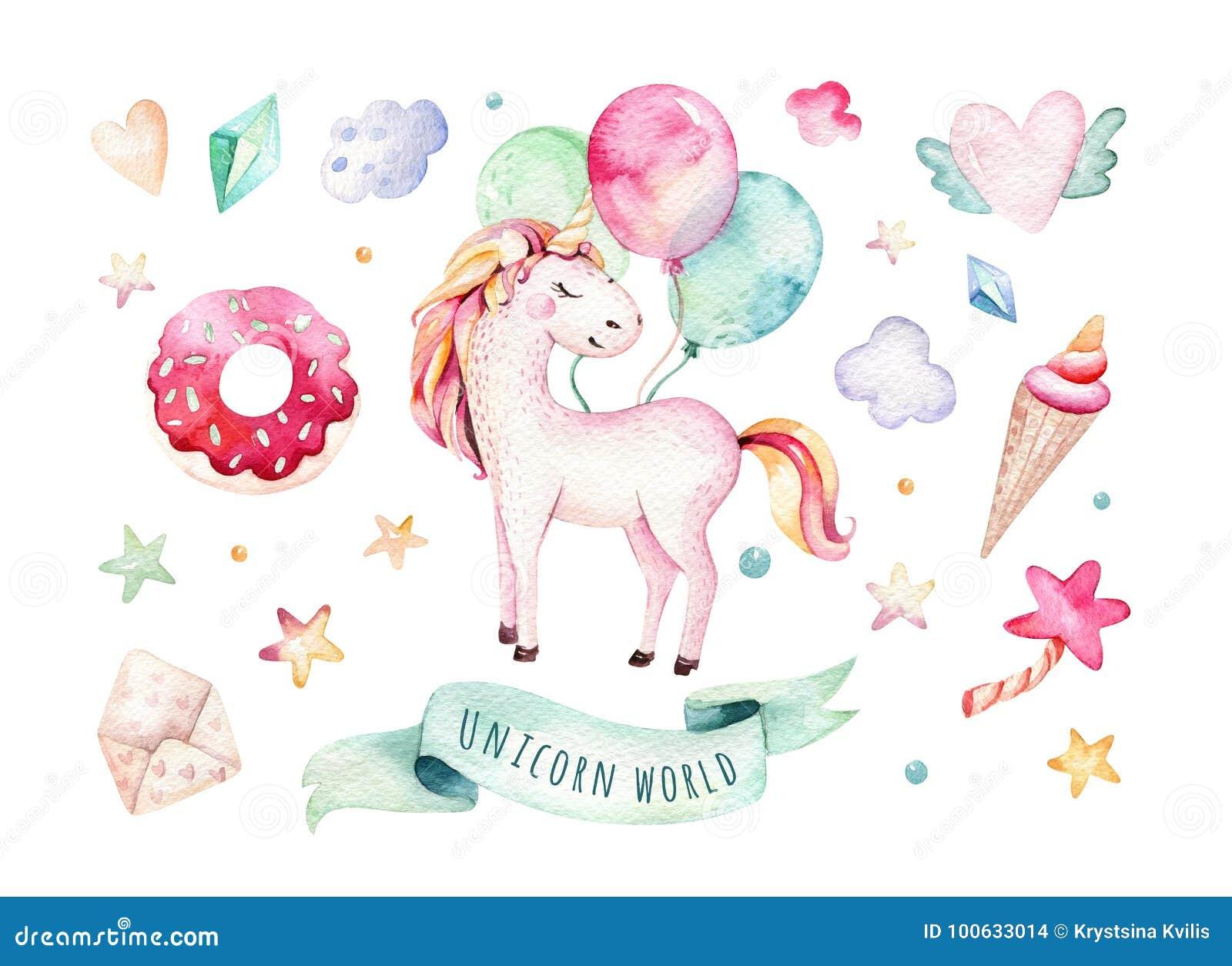 Odosobniony śliczny akwareli jednorożec clipart Pepinier jednorożec ilustracyjne Princess tęczy jednorożec plakatowe Modne menchi