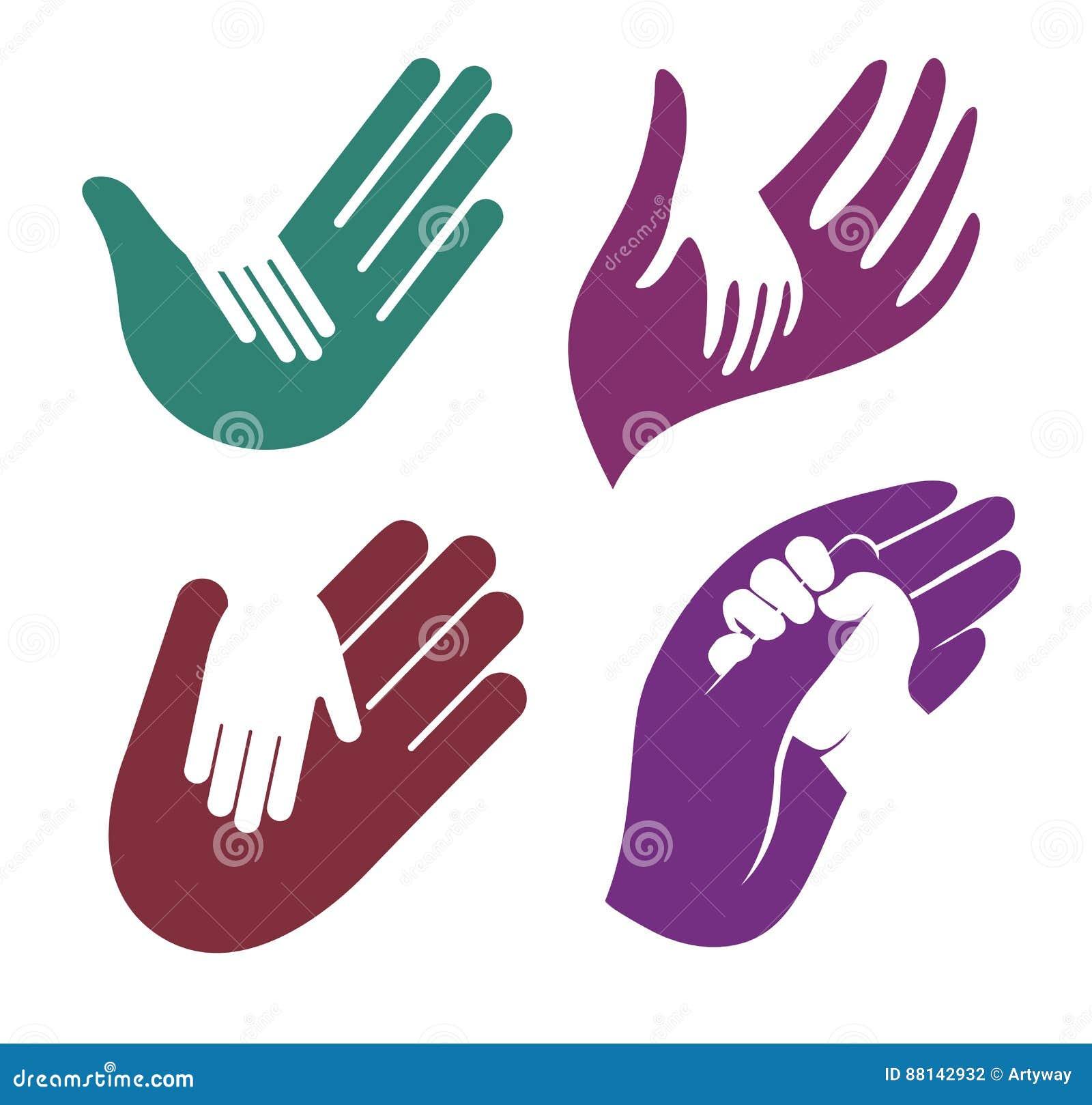 Odosobniony abstrakcjonistyczny kolorowy dziecka i dorosłego ręka w rękę loga set, dzieciaka macania rodzica logotypu palmowa kol