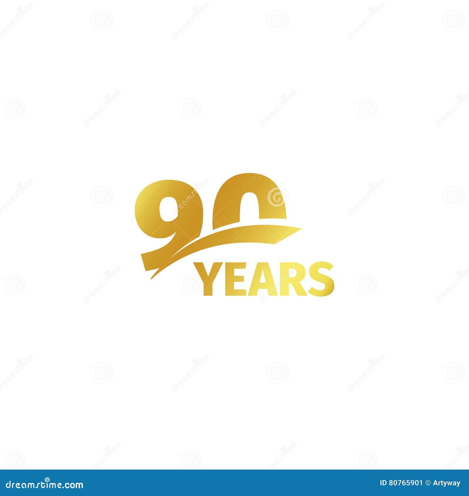 Odosobniony abstrakcjonistyczny złoty 90th rocznicowy logo na białym tle 90 numerowy logotyp Dziewiećdziesiąt roku jubileuszu świ