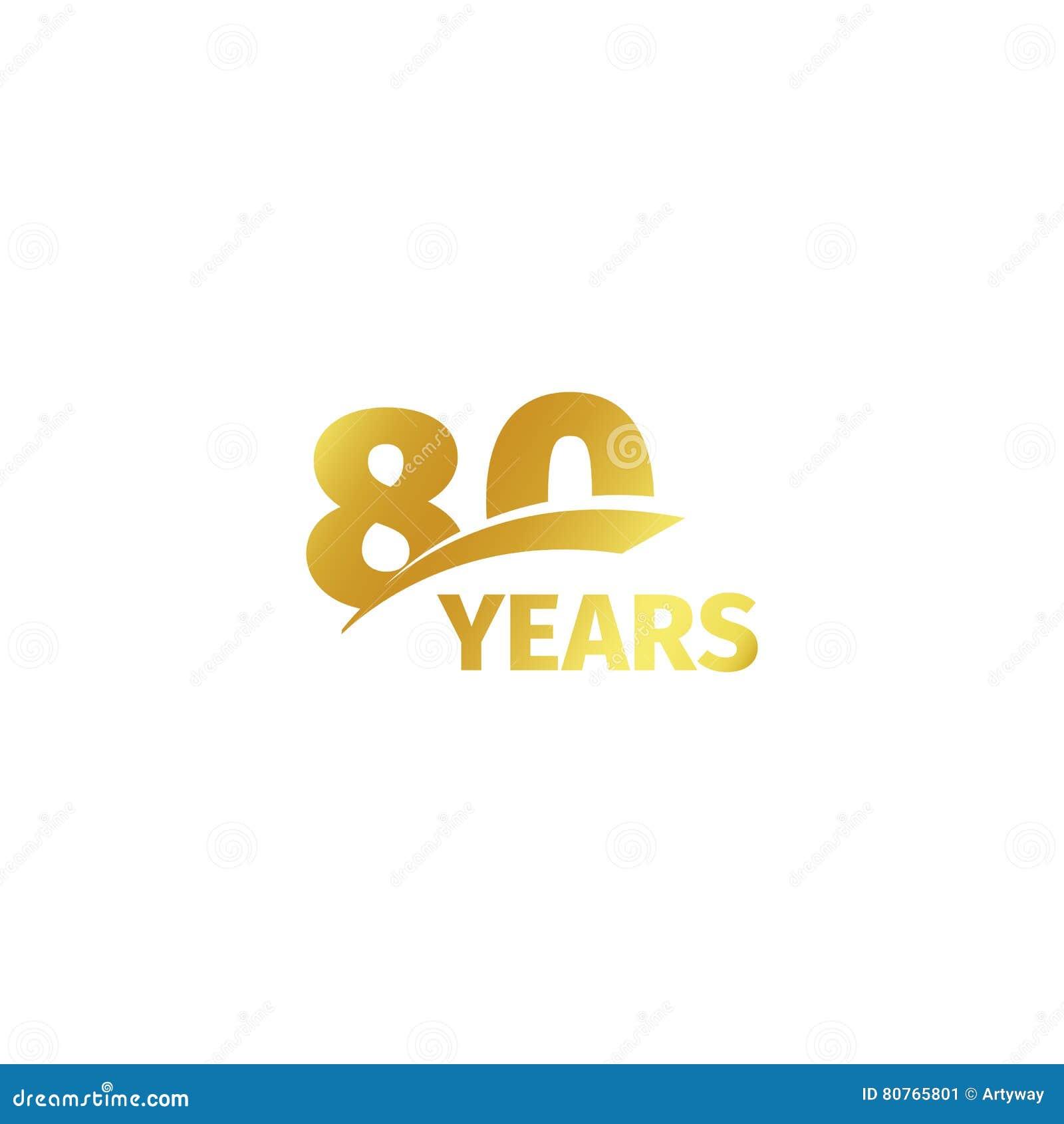 Odosobniony abstrakcjonistyczny złoty 80th rocznicowy logo na białym tle 80 numerowy logotyp Osiemdziesiąt rok jubileuszu świętow