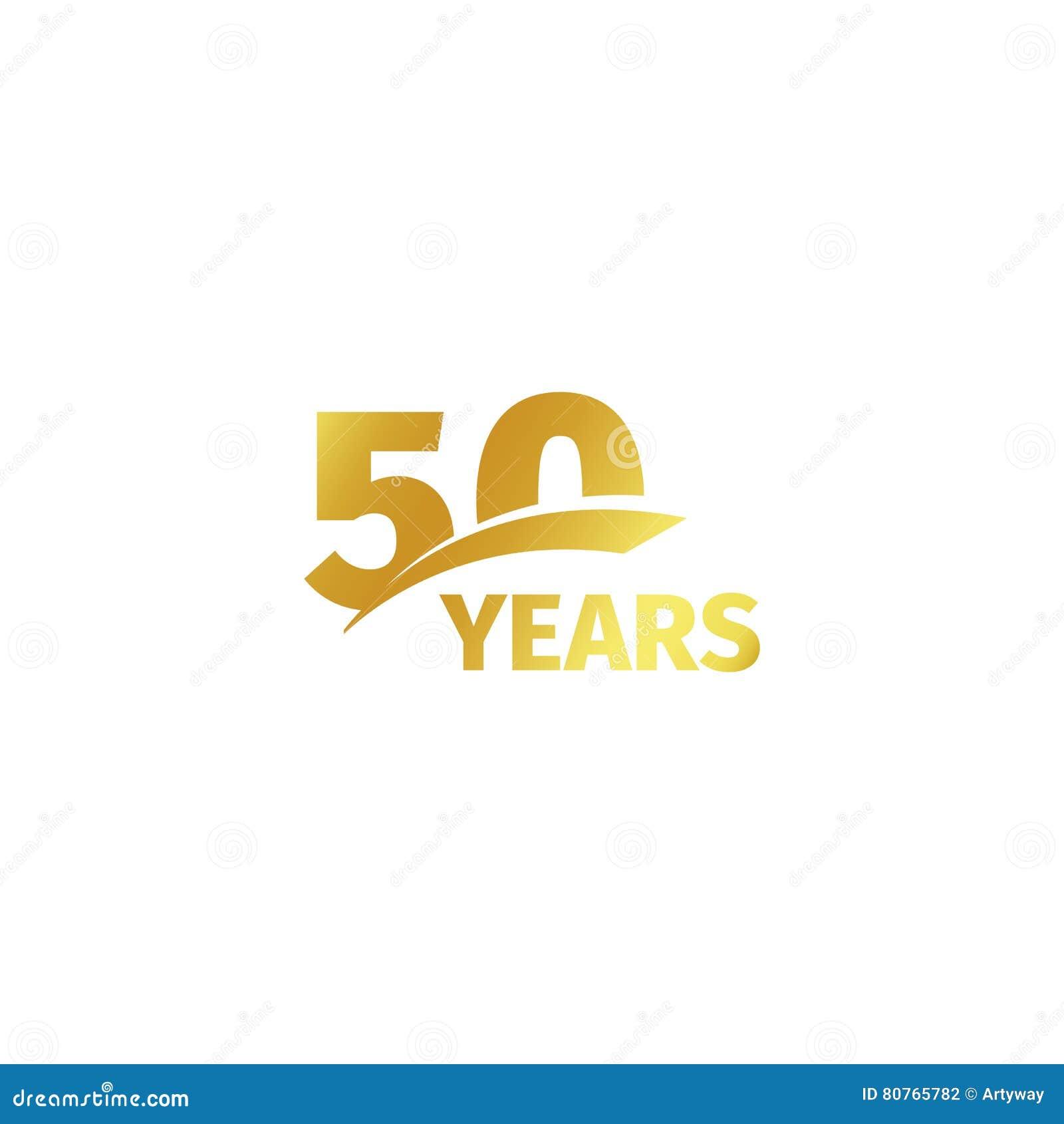 Odosobniony abstrakcjonistyczny złoty 50th rocznicowy logo na białym tle 50 numerowy logotyp Pięćdziesiąt rok jubileuszu świętowa