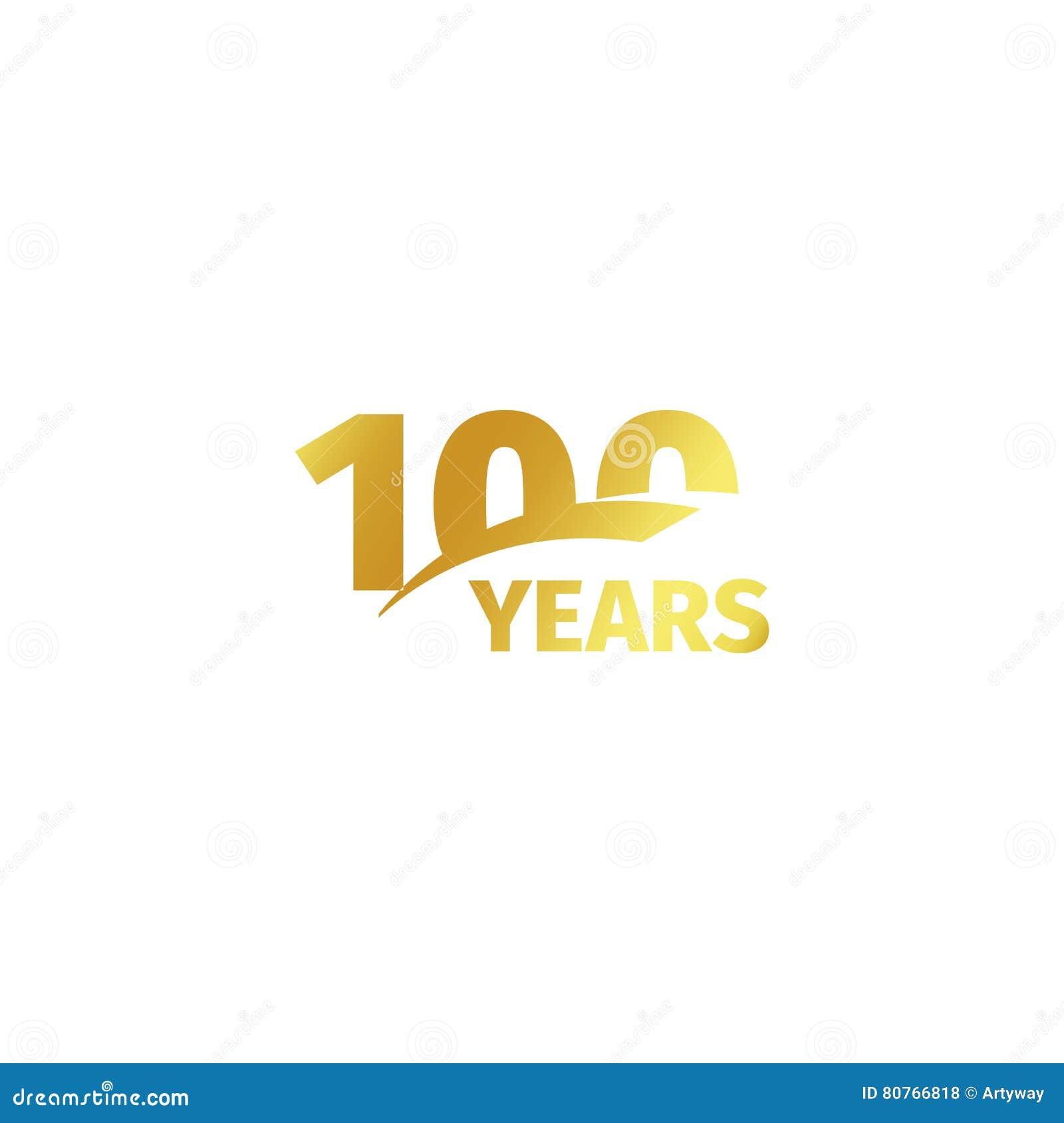 Odosobniony abstrakcjonistyczny złoty 100th rocznicowy logo na białym tle 100 numerowy logotyp Sto rok jubileuszowych