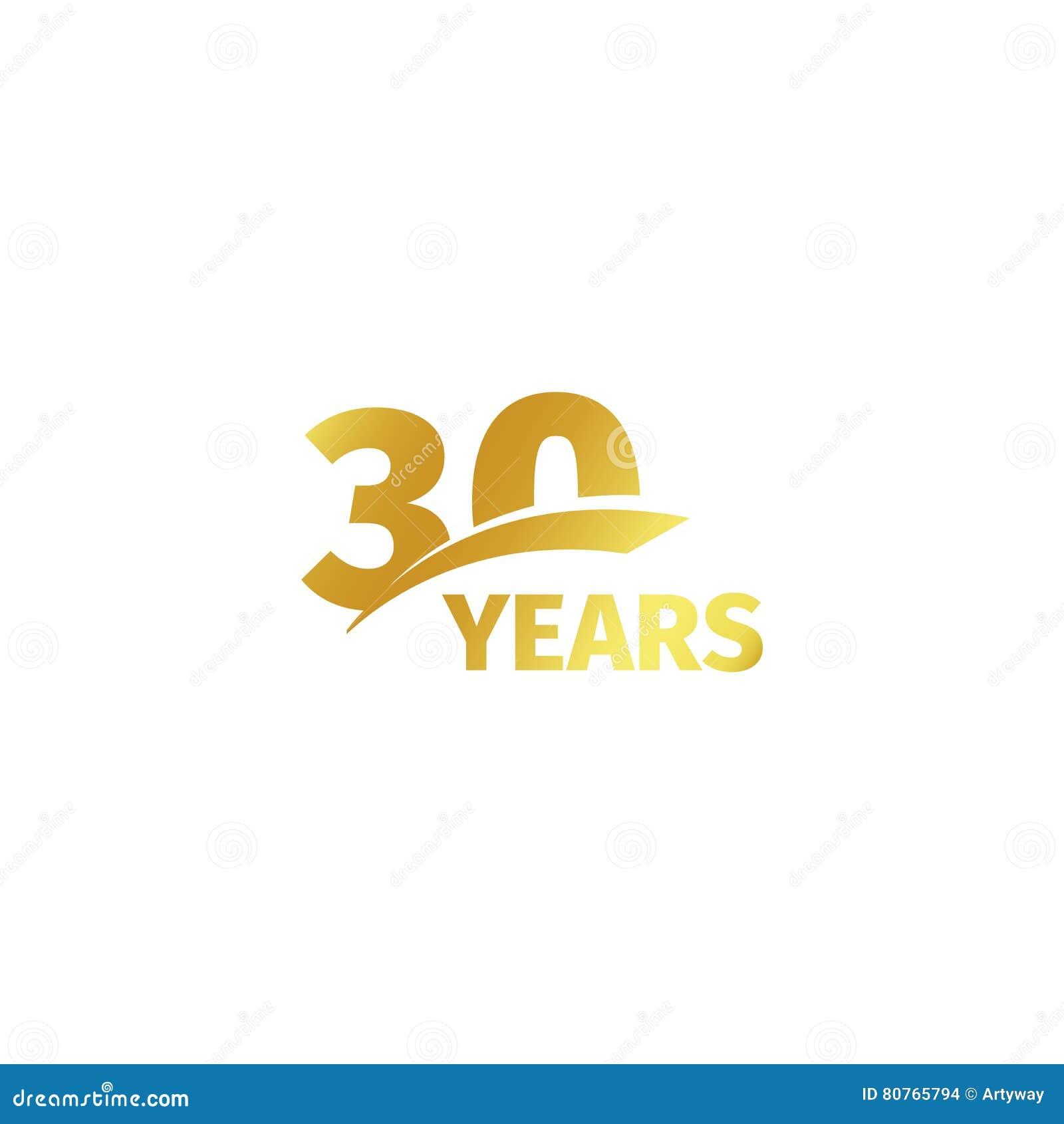 Odosobniony abstrakcjonistyczny złoty 30th rocznicowy logo na białym tle 30 numerowy logotyp Trzydzieści rok jubileuszu świętowan