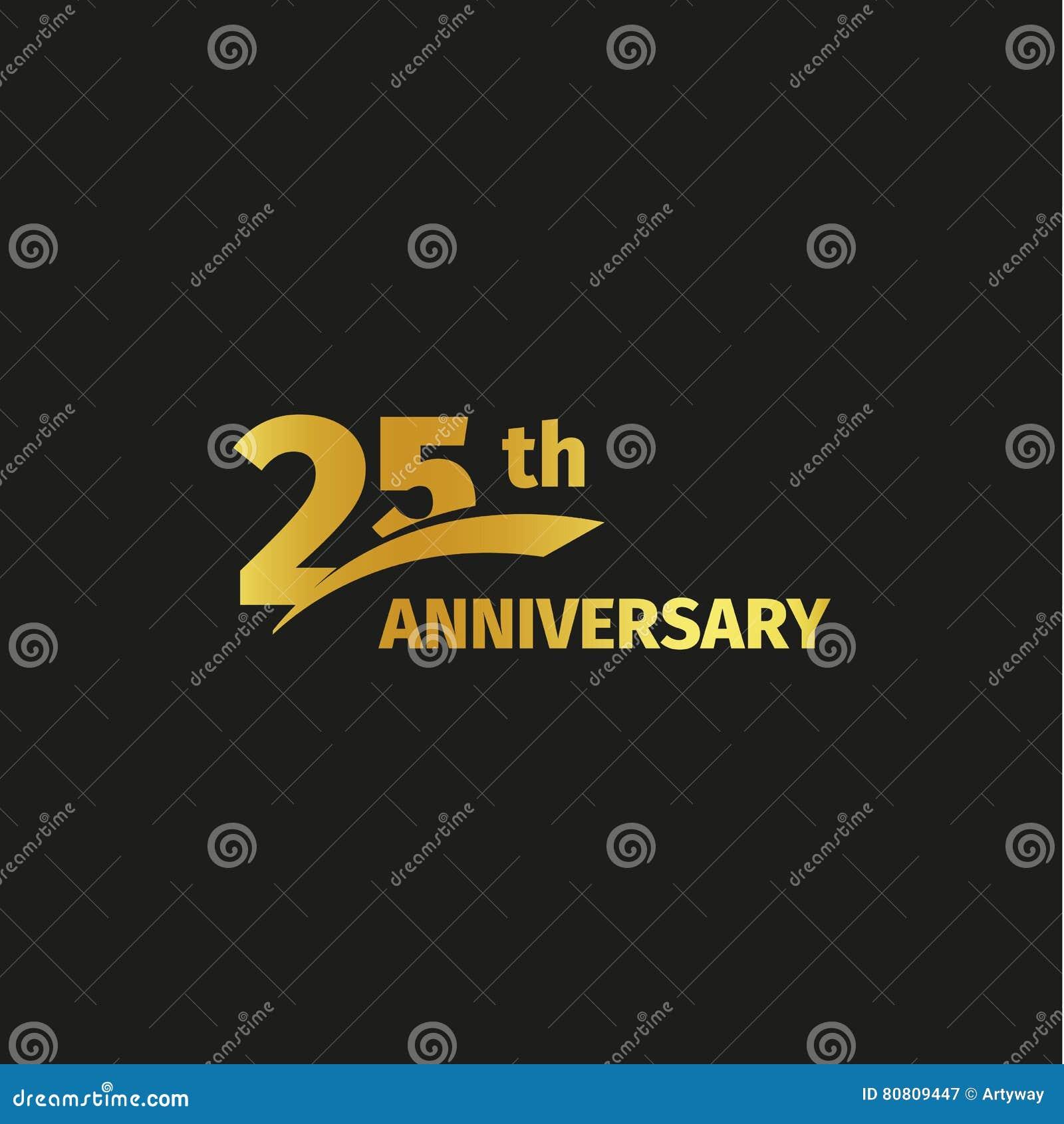 Odosobniony abstrakcjonistyczny złoty 25th rocznicowy logo na czarnym tle 25 numerowy logotyp Dwadzieścia pięć rok jubileuszowych