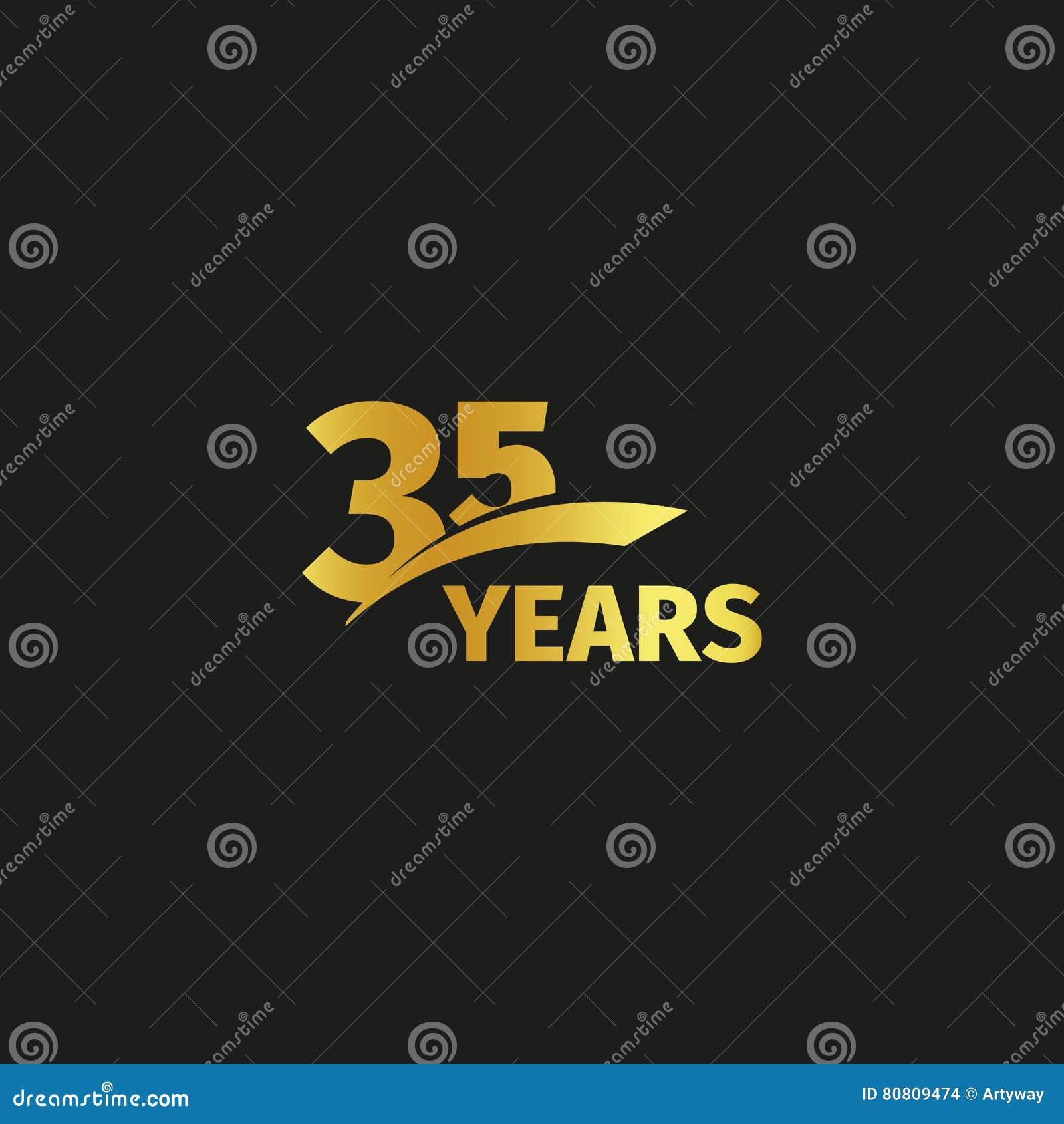 Odosobniony abstrakcjonistyczny złoty 35th rocznicowy logo na czarnym tle 35 numerowy logotyp Trzydzieści pięć rok jubileuszowych