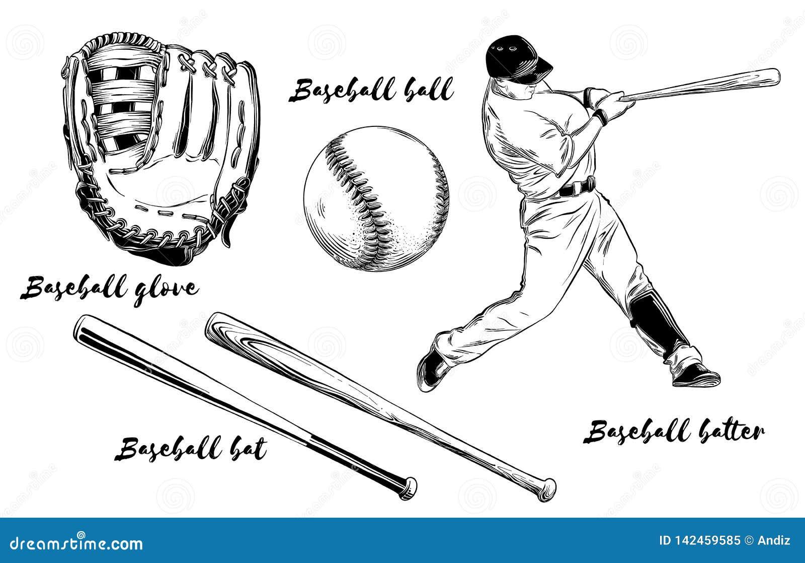 Odosobniony baseball ustawiający na białym tle Pociągany ręcznie elementy tak jak gracz baseballa, rękawiczka, nietoperz i piłka,
