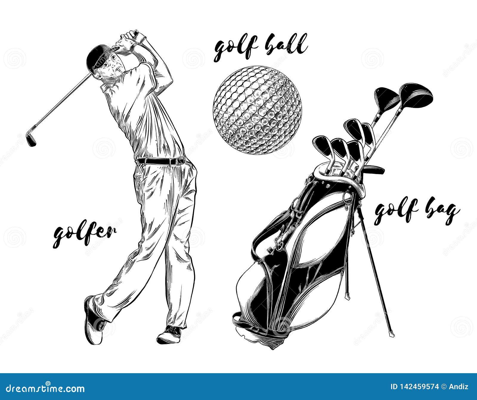 Odosobniony golf ustawiający na białym tle Pociągany ręcznie elementy tak jak golfista, piłka golfowa i golfowa torba, również zw