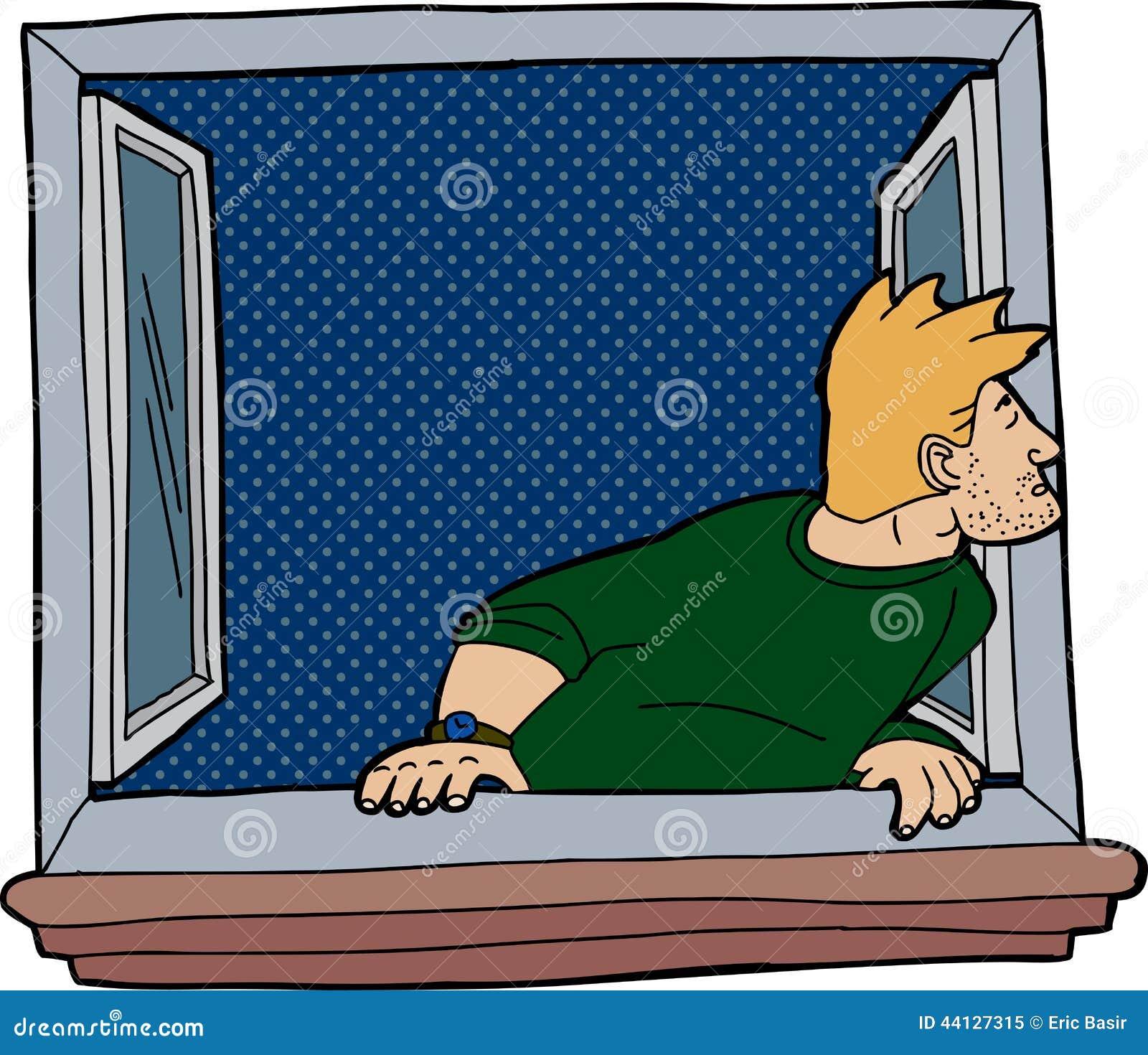 Odosobniony mężczyzna przy okno