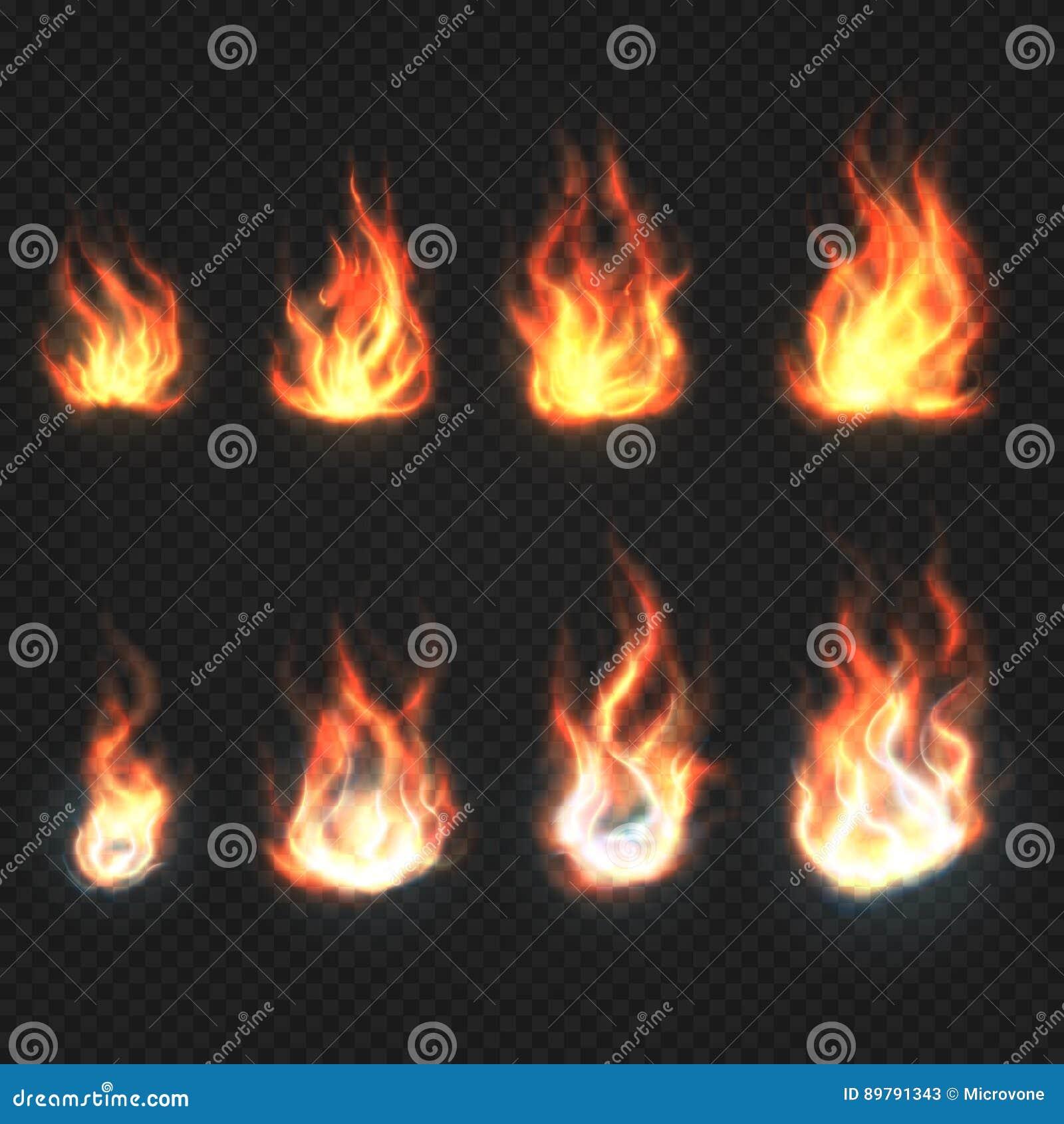 Odosobniony ogienia płomieni, władzy i energii symboli/lów wektoru set,